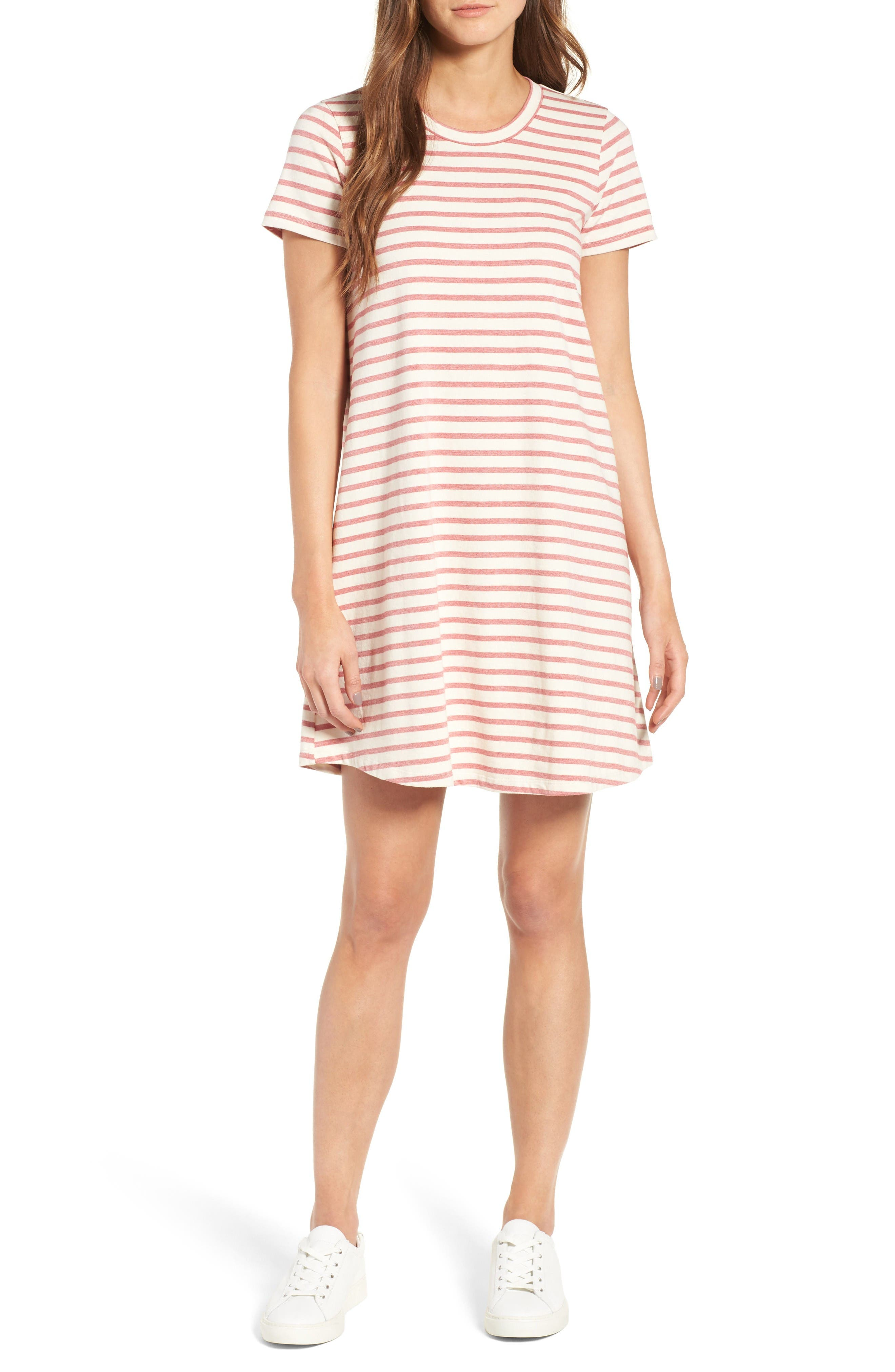 Retreat Stripe Cotton Shift Dress,                         Main,                         color, Flame Red