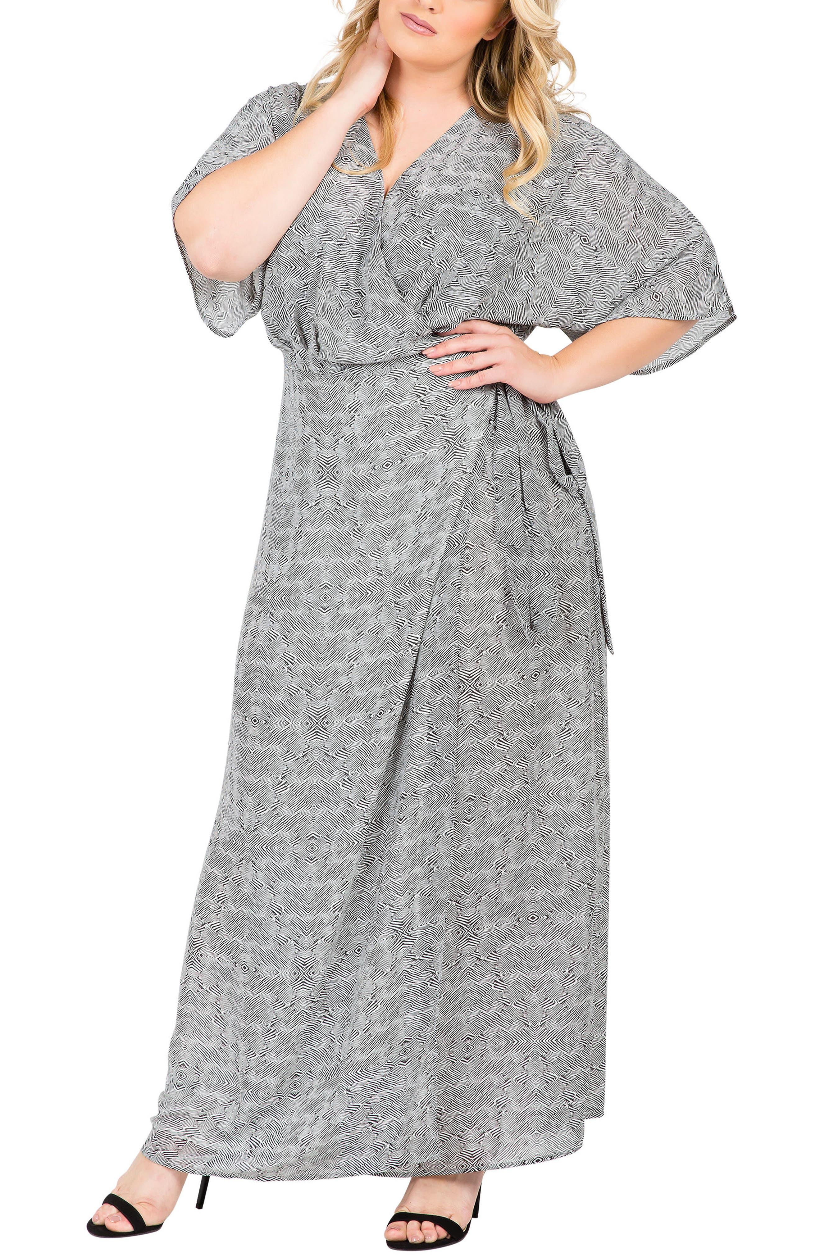 Standards & Practices Olivia Print Wrap Maxi Dress (Plus Size)