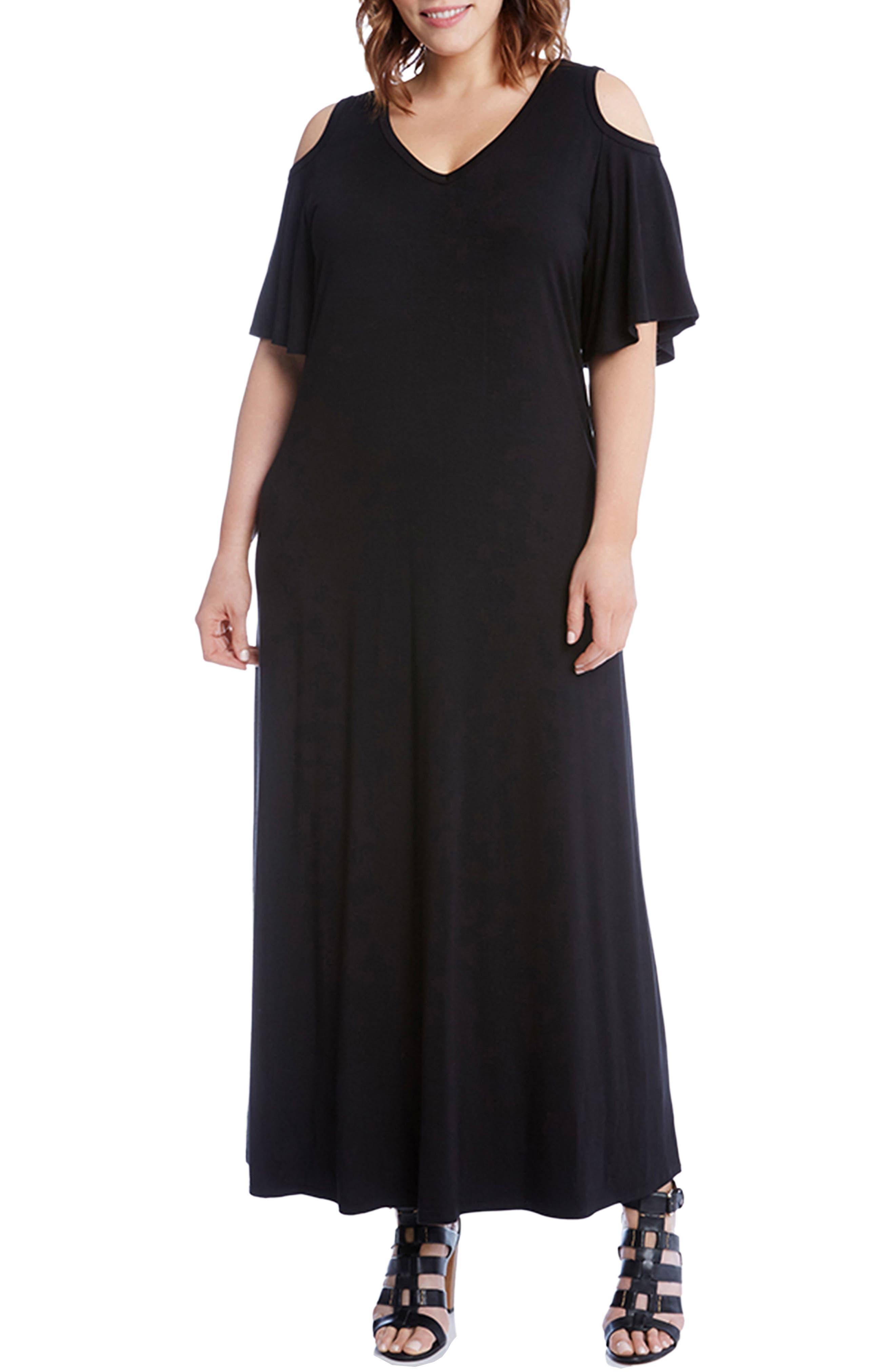 Cold Shoulder A-Line Maxi Dress,                             Main thumbnail 1, color,                             Black