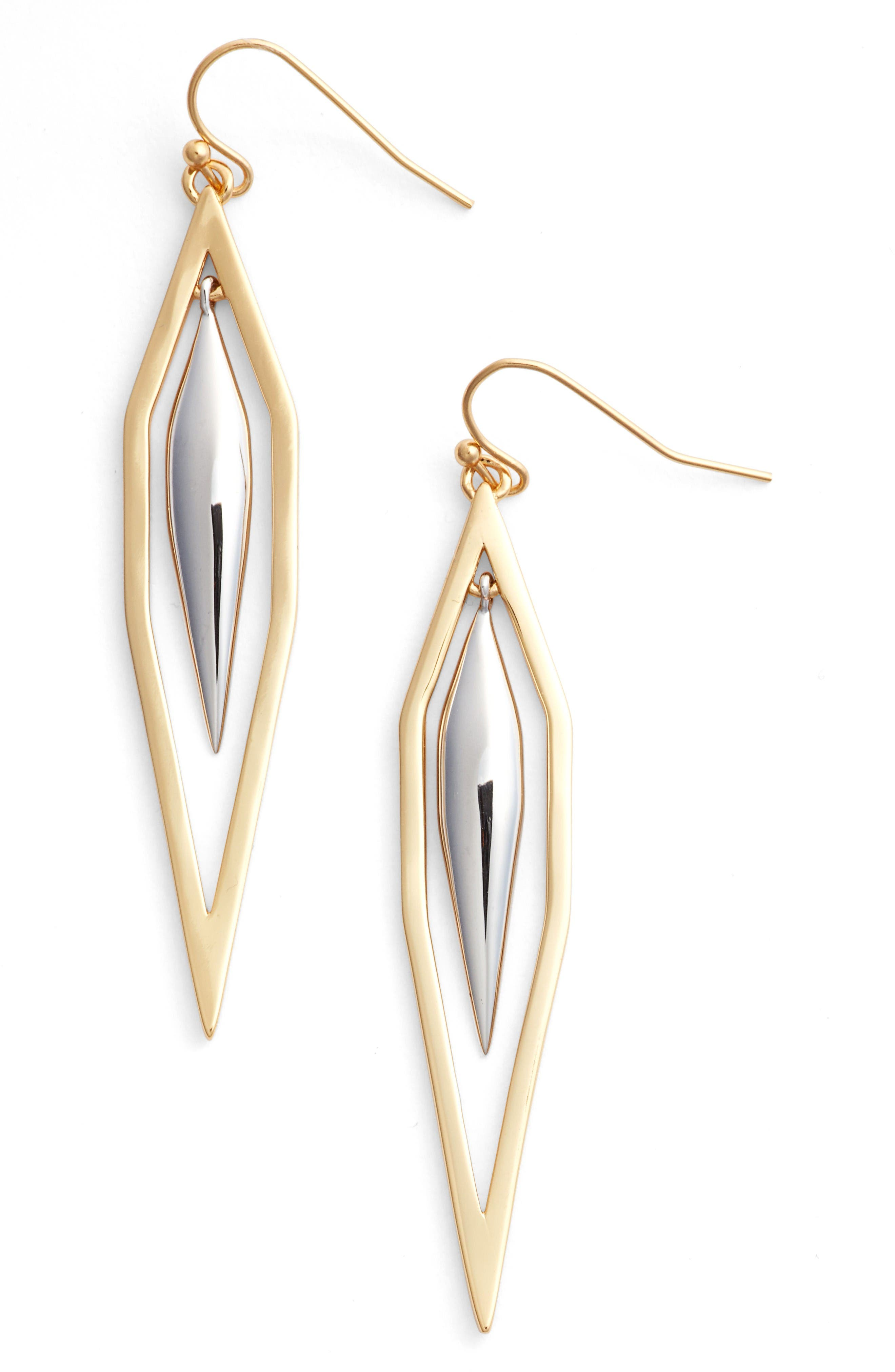 Dionne Drop Earrings,                             Main thumbnail 1, color,                             Gold/ Silver