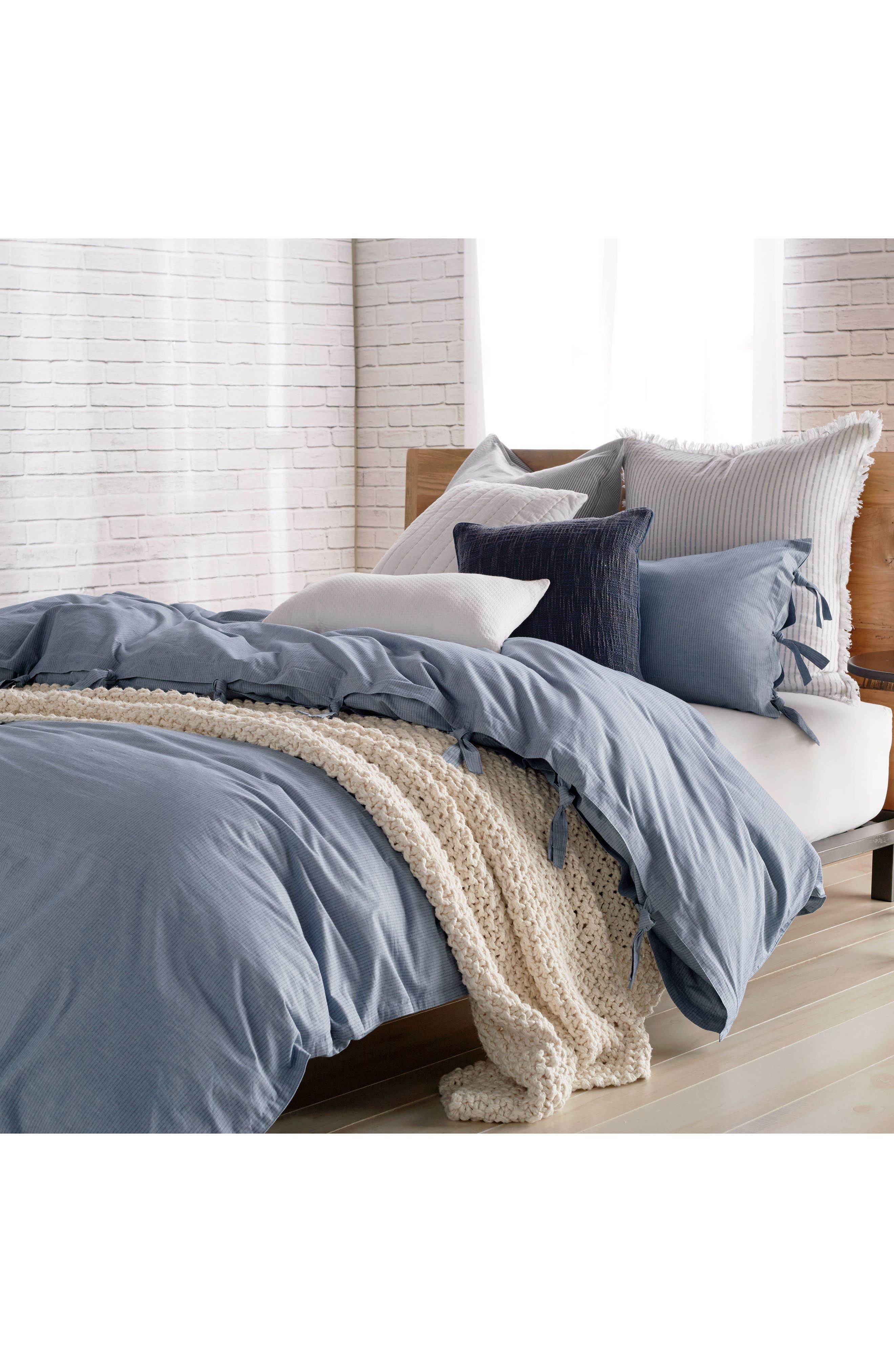 PURE Stripe 144 Thread Count Duvet Cover,                         Main,                         color, Blue