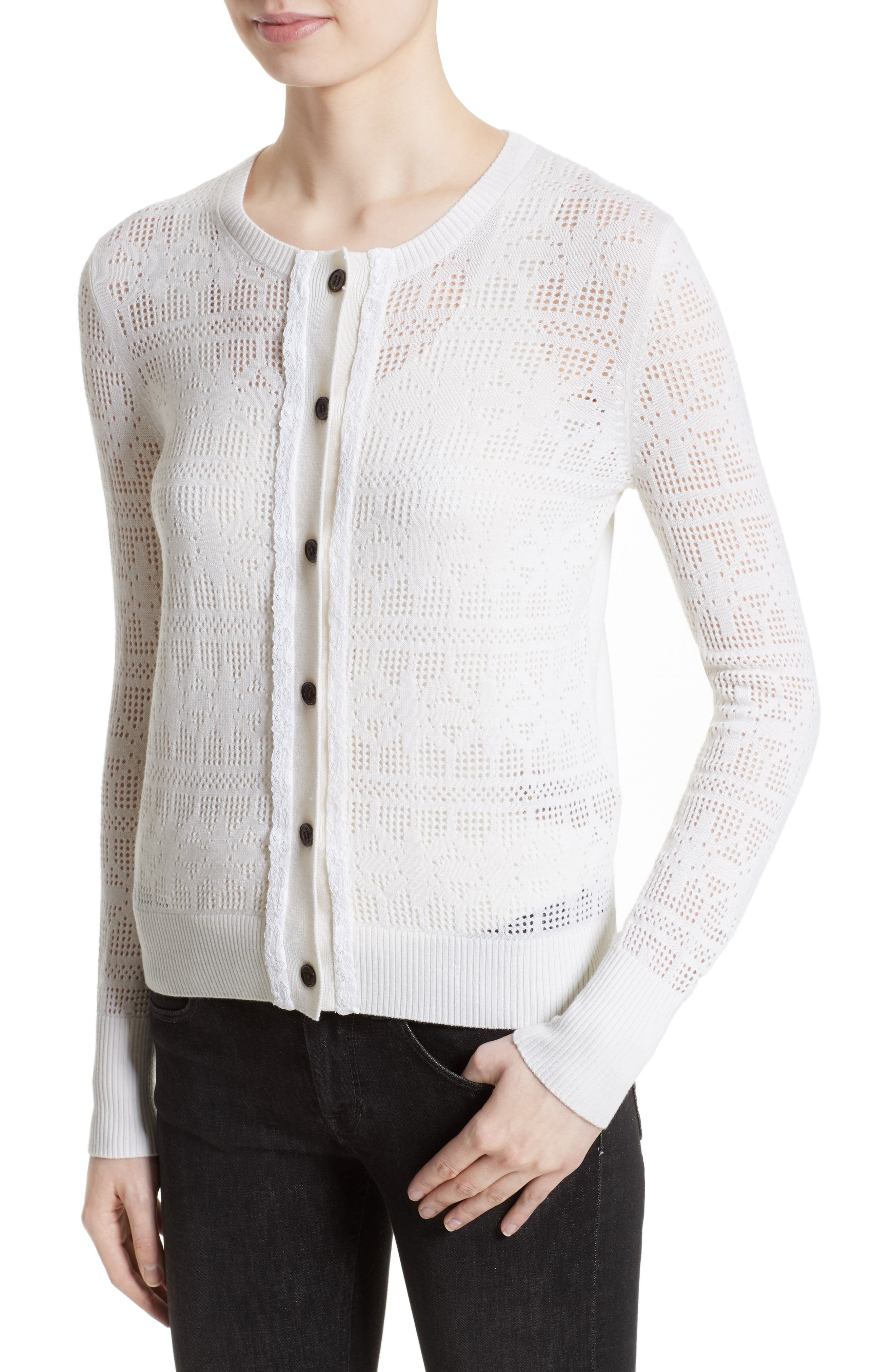 River Elvo Wool & Cashmere Cardigan,                             Alternate thumbnail 6, color,                             Natural White