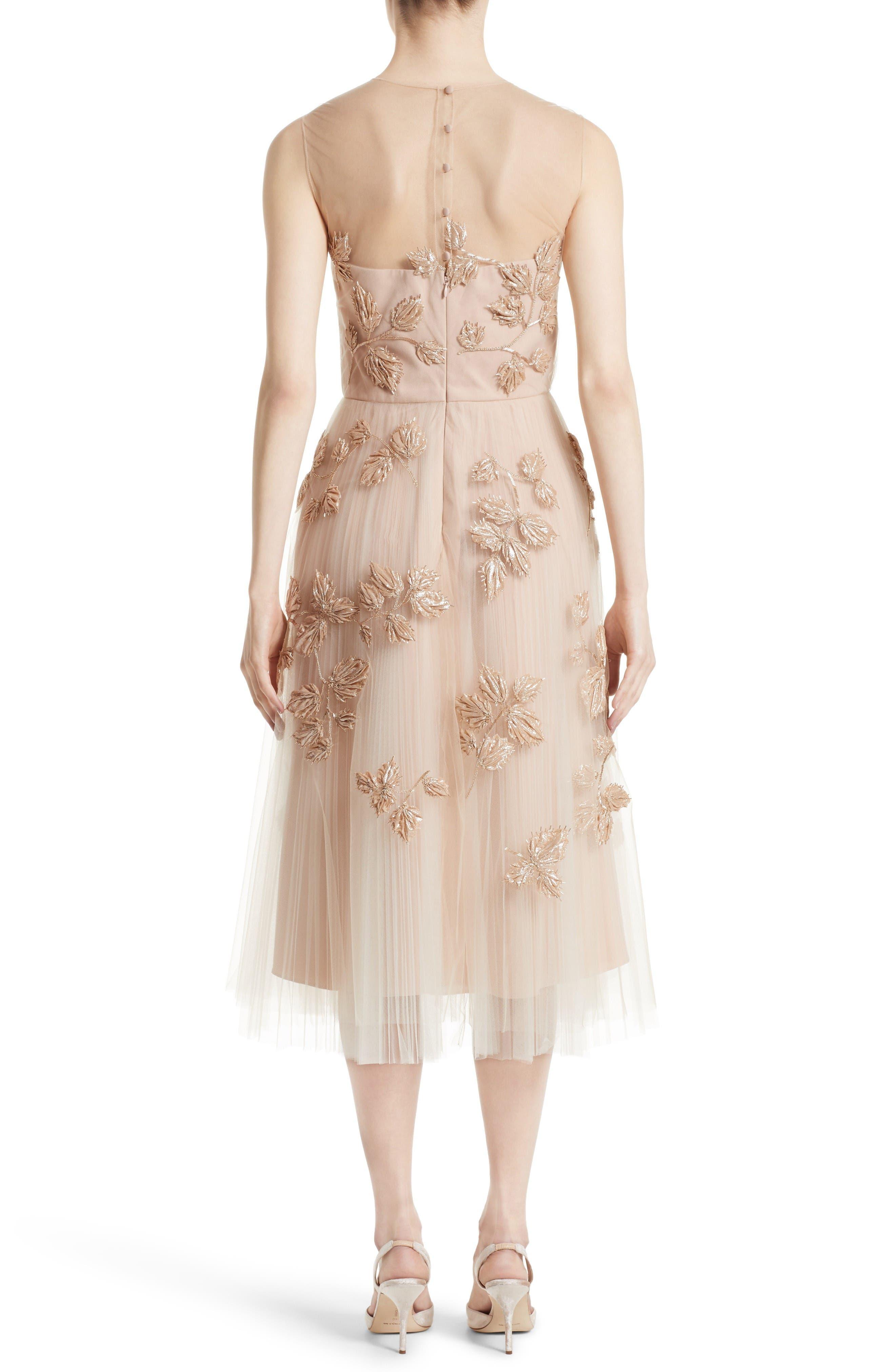 Alternate Image 2  - Carolina Herrera Sequin Leaf Tulle Midi Dress