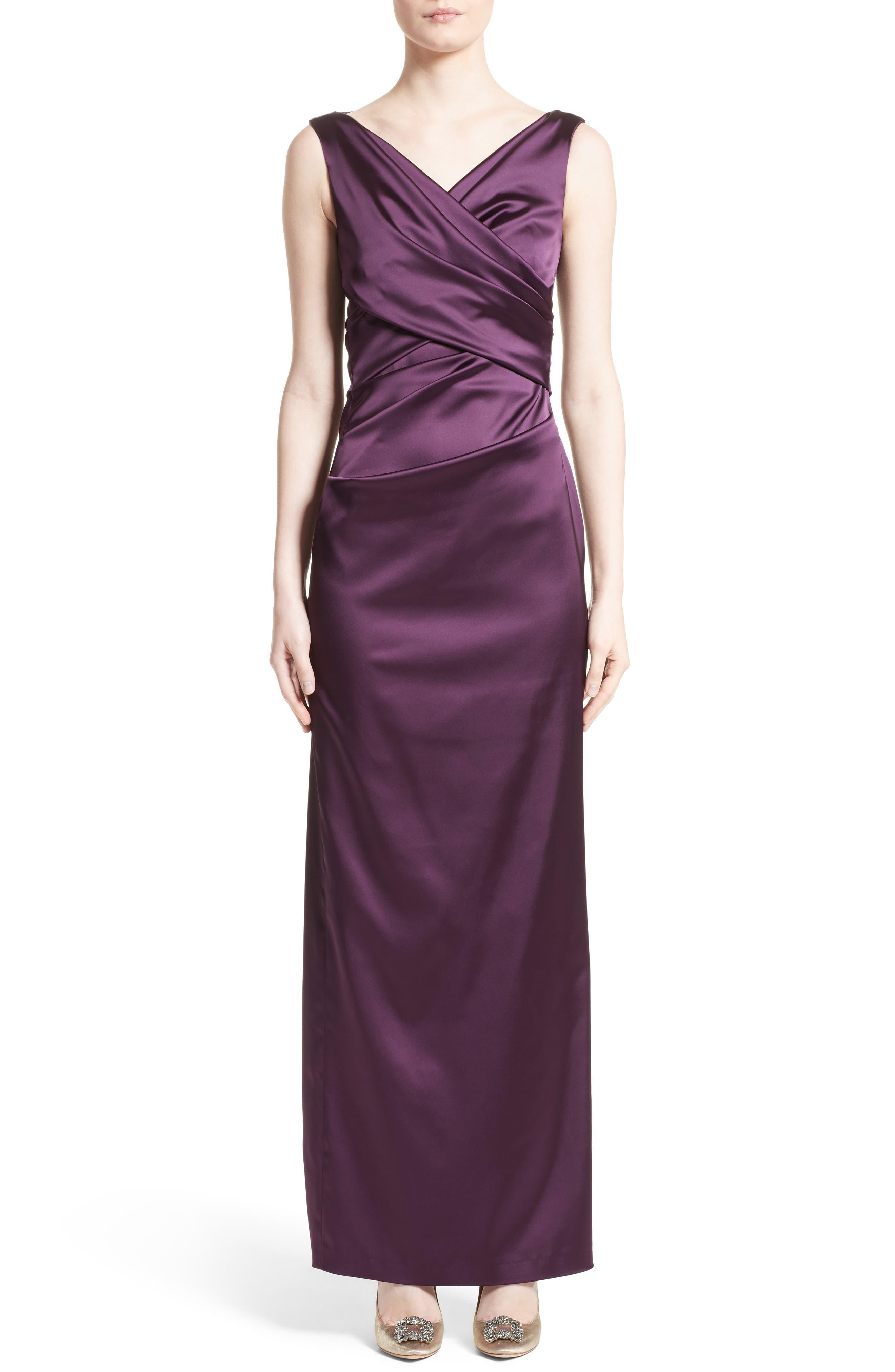 V-Neck Ruched Stretch Satin Column Gown,                         Main,                         color, Claret