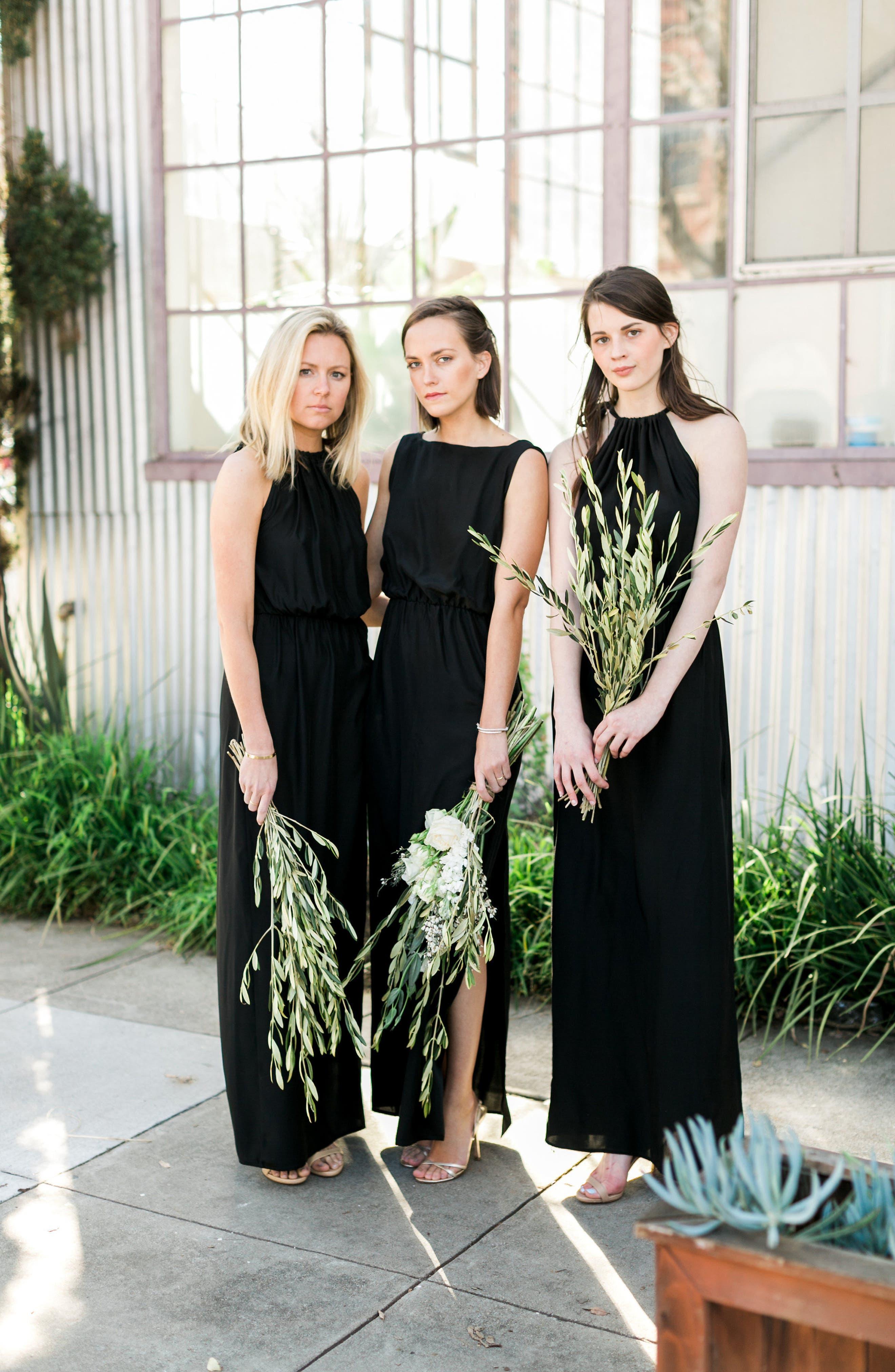 Alternate Image 2  - Natalie Deayala High Neck Silk Column Gown
