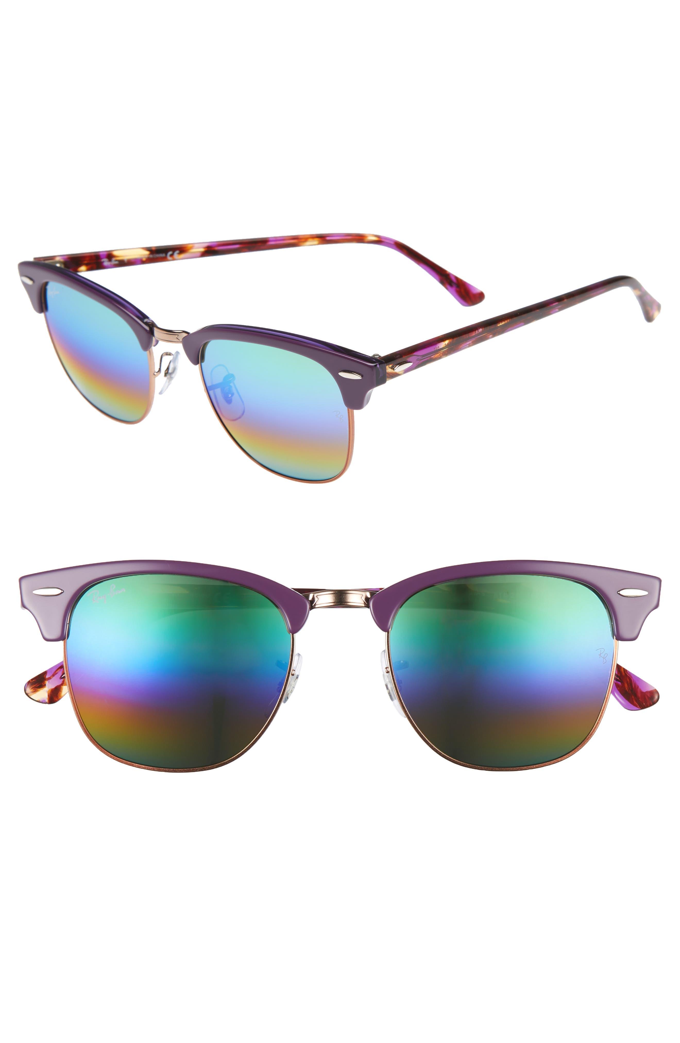 RAY-BAN Standard Clubmaster 51mm Mirrored Rainbow Sunglasses