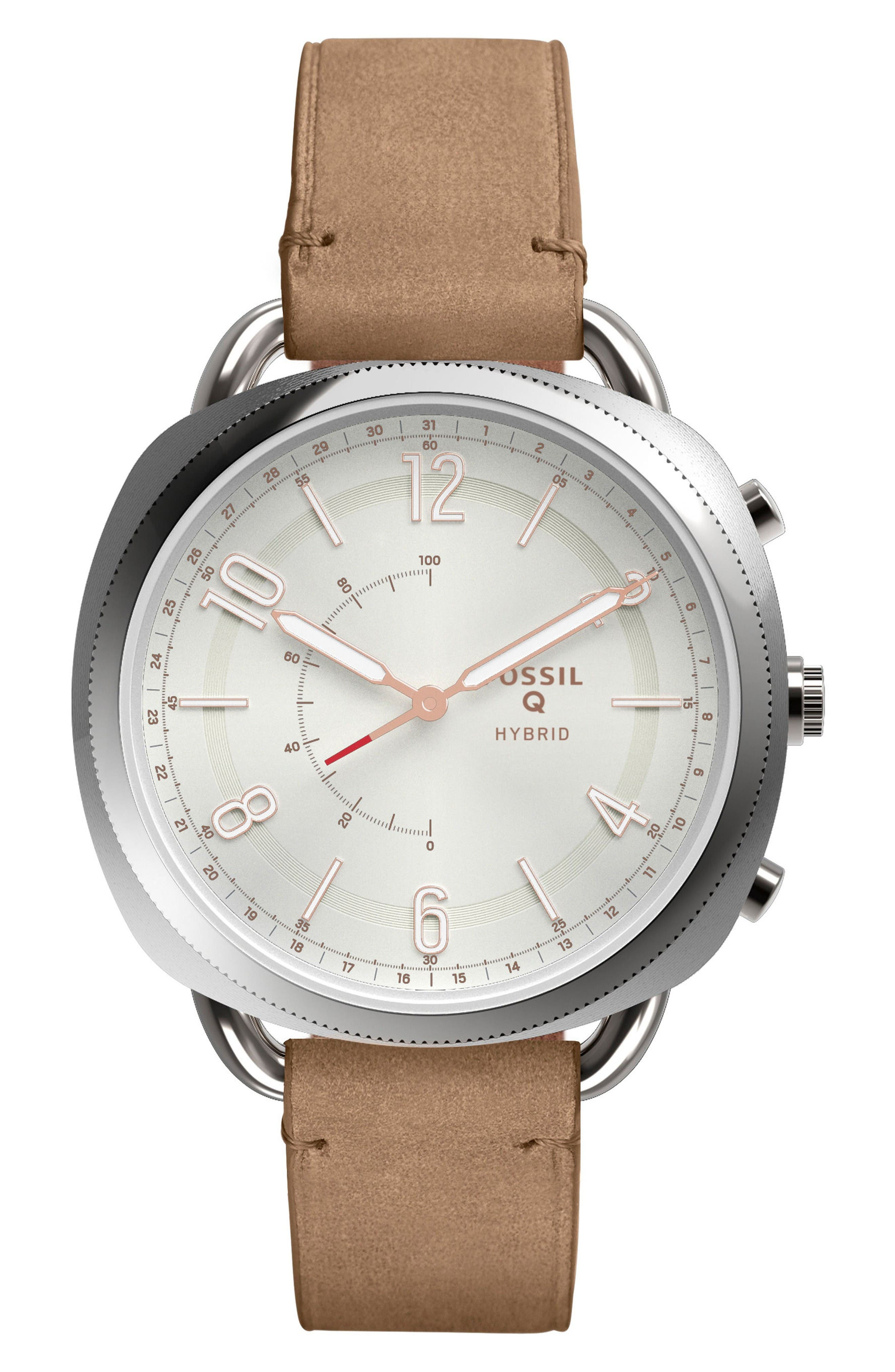 Accomplice Smart Leather Strap Watch, 38mm,                         Main,                         color, Sand/ White/ Rose Gold