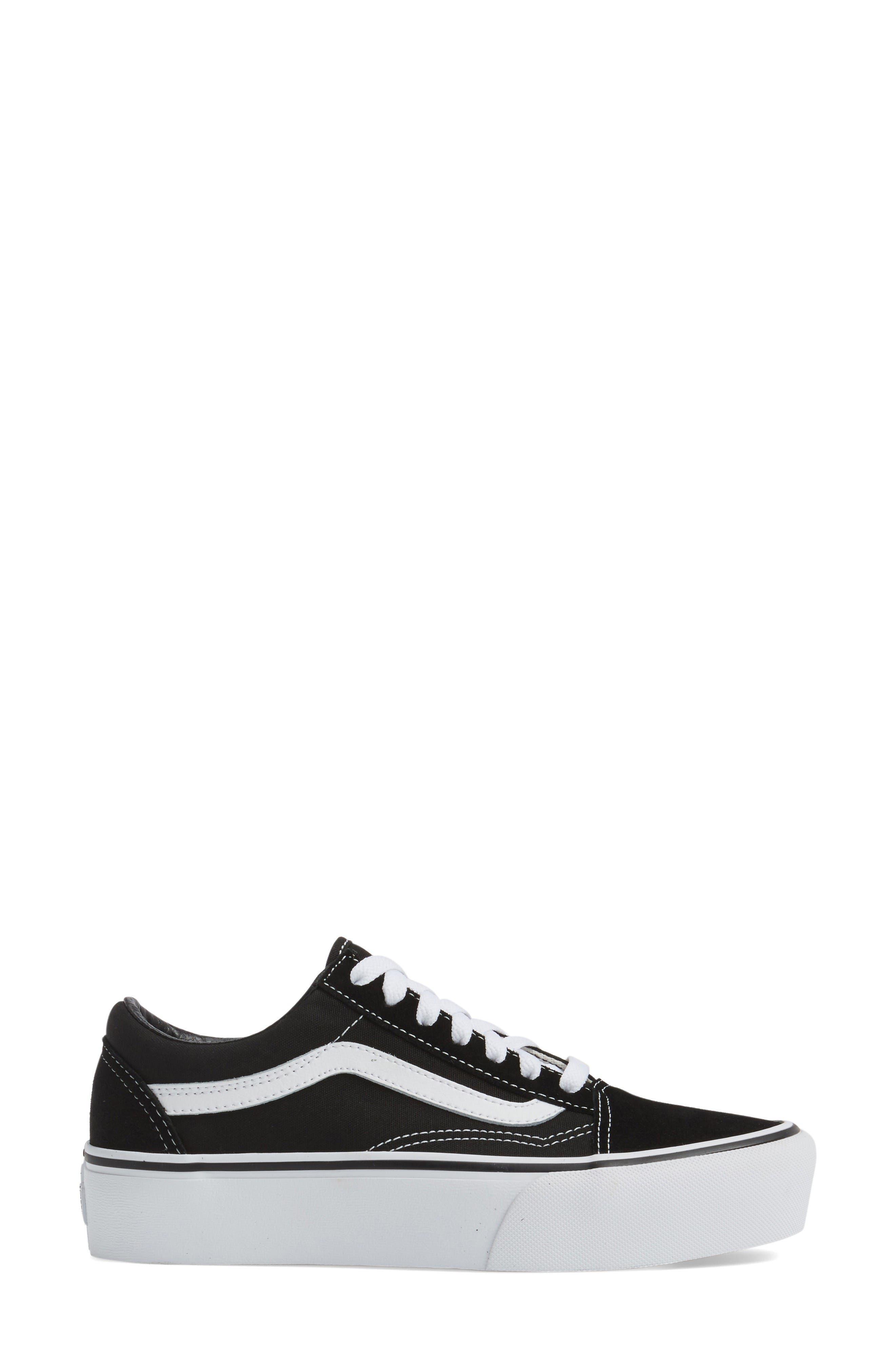 Old Skool Platform Sneaker,                             Alternate thumbnail 3, color,                             Black/ White