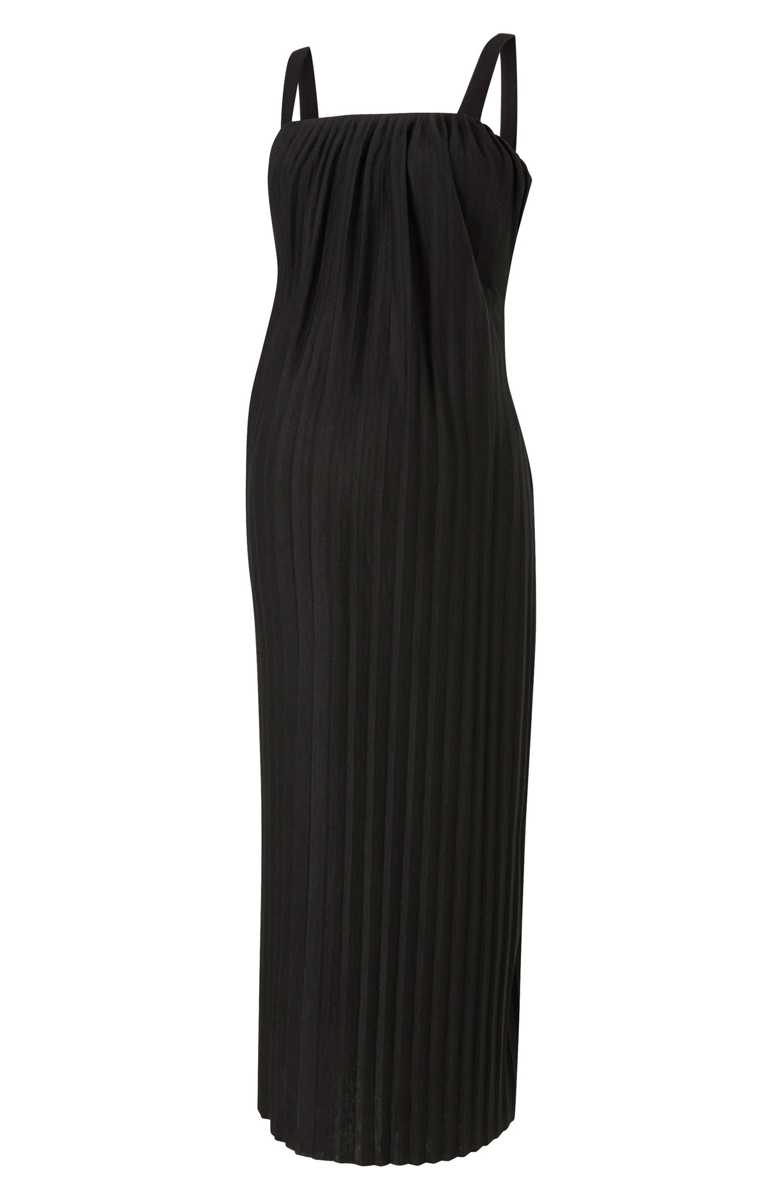 Justine Pleated Maternity Dress,                         Main,                         color, Caviar Black