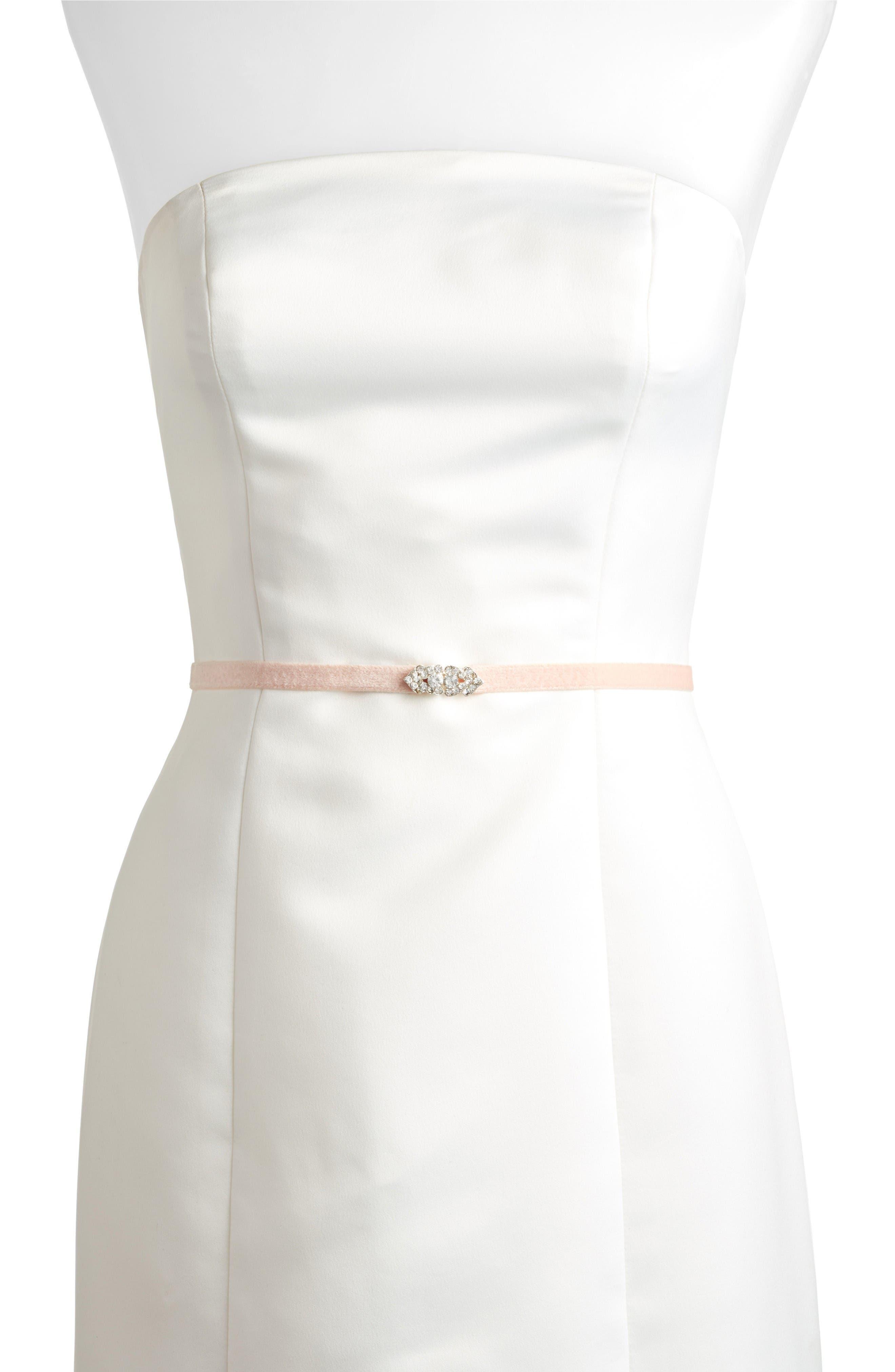 Marsey Jeweled Velvet Belt,                         Main,                         color, Blush