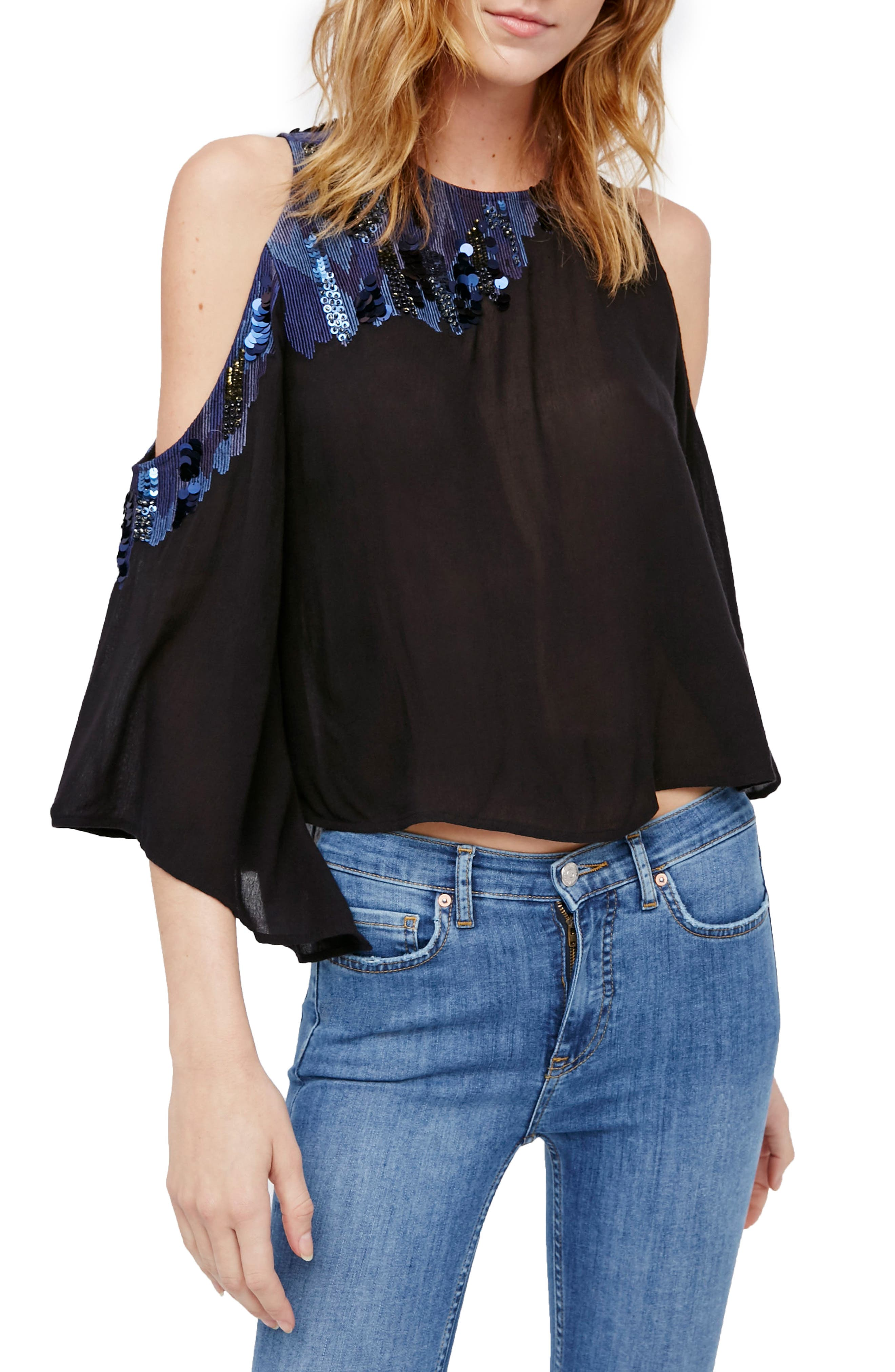 Main Image - Free People All About You Embellished Cold Shoulder Top