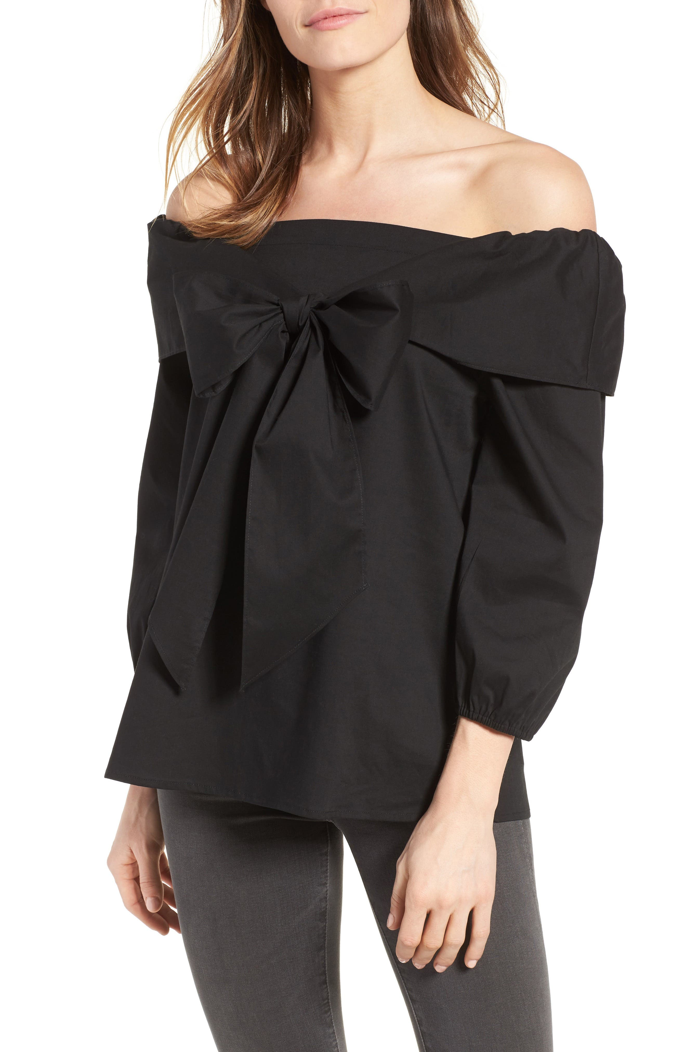 Alternate Image 1 Selected - Pleione Bow Front Off the Shoulder Top (Regular & Petite)