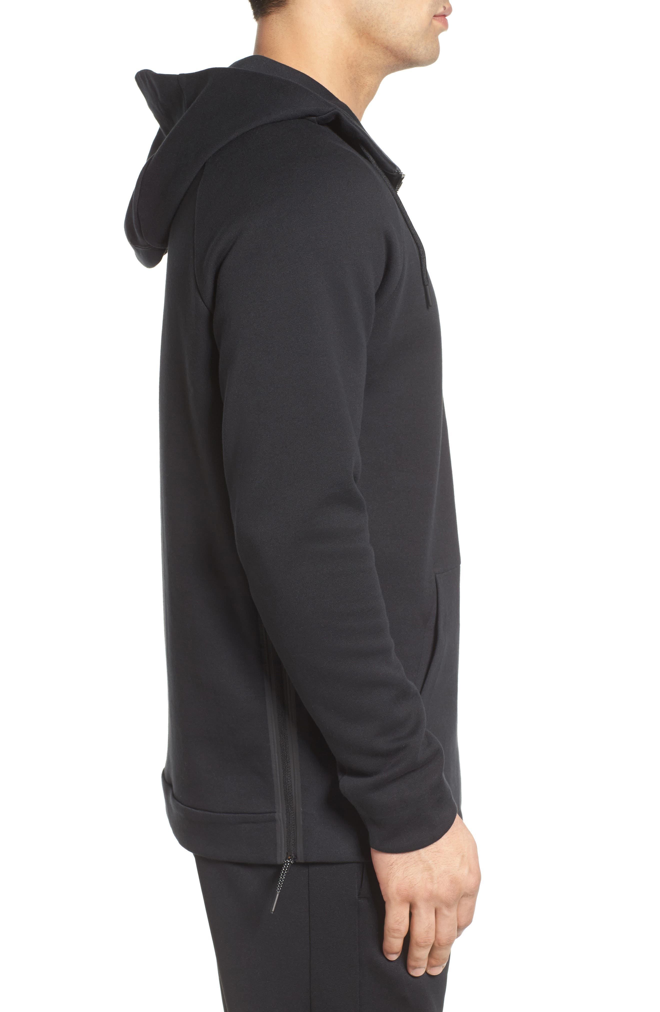 Half-Zip Pullover Hoodie,                             Alternate thumbnail 3, color,                             Black/ Black/ Black