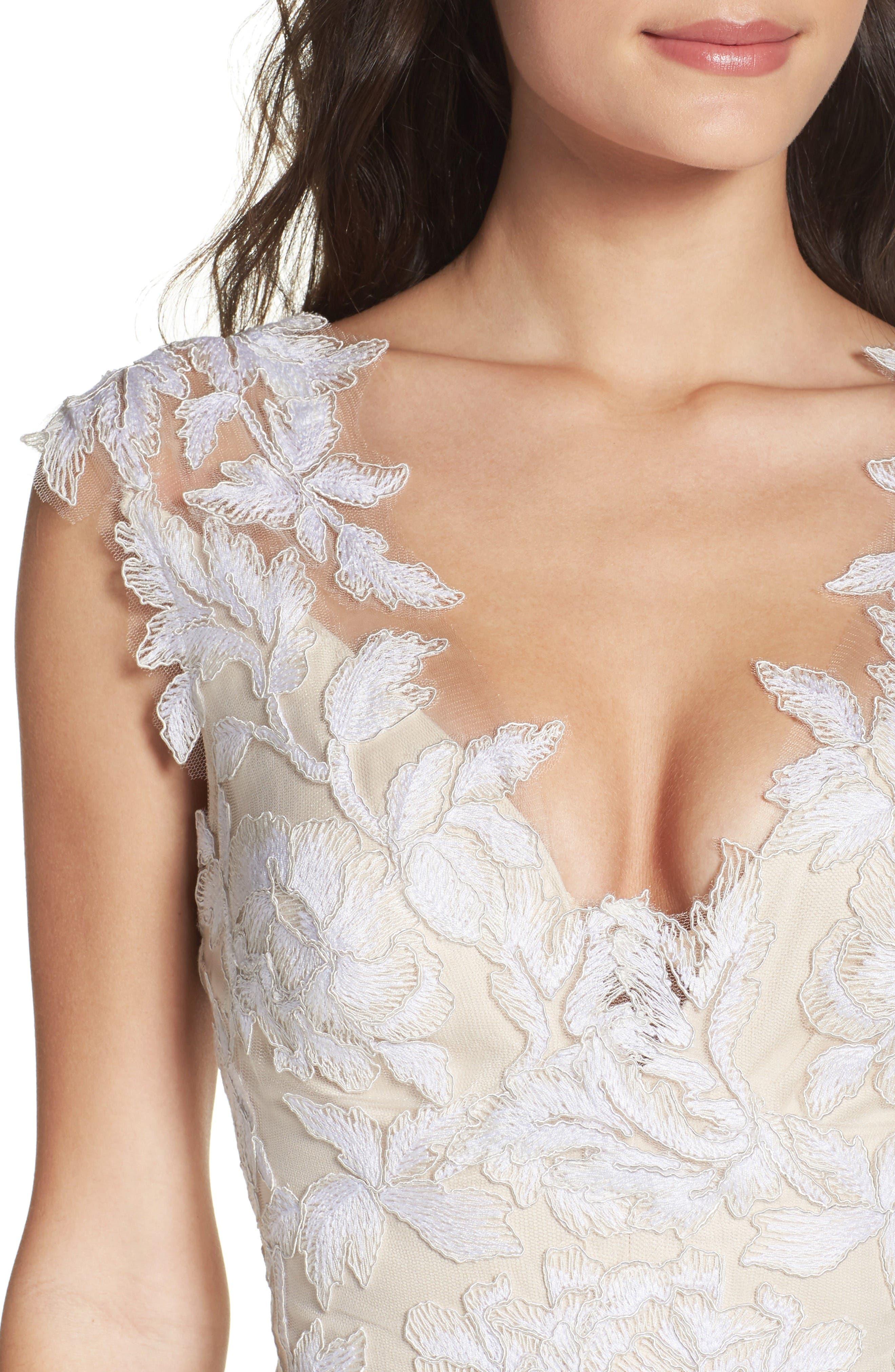 A-Line Lace Gown,                             Alternate thumbnail 4, color,                             Ivory/ Petal