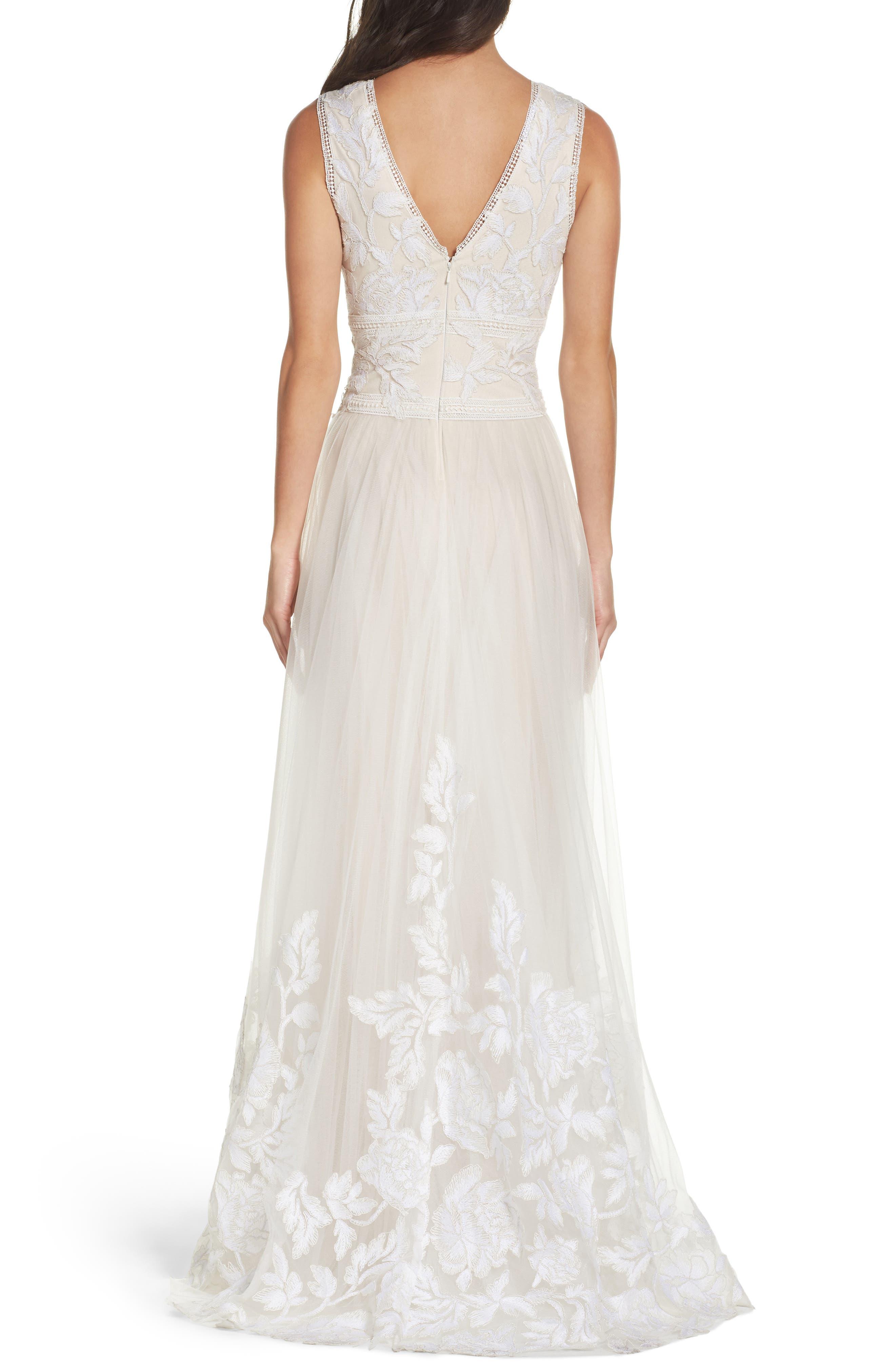 Tulle Lace A-Line Gown,                             Alternate thumbnail 2, color,                             Ivory/ Petal