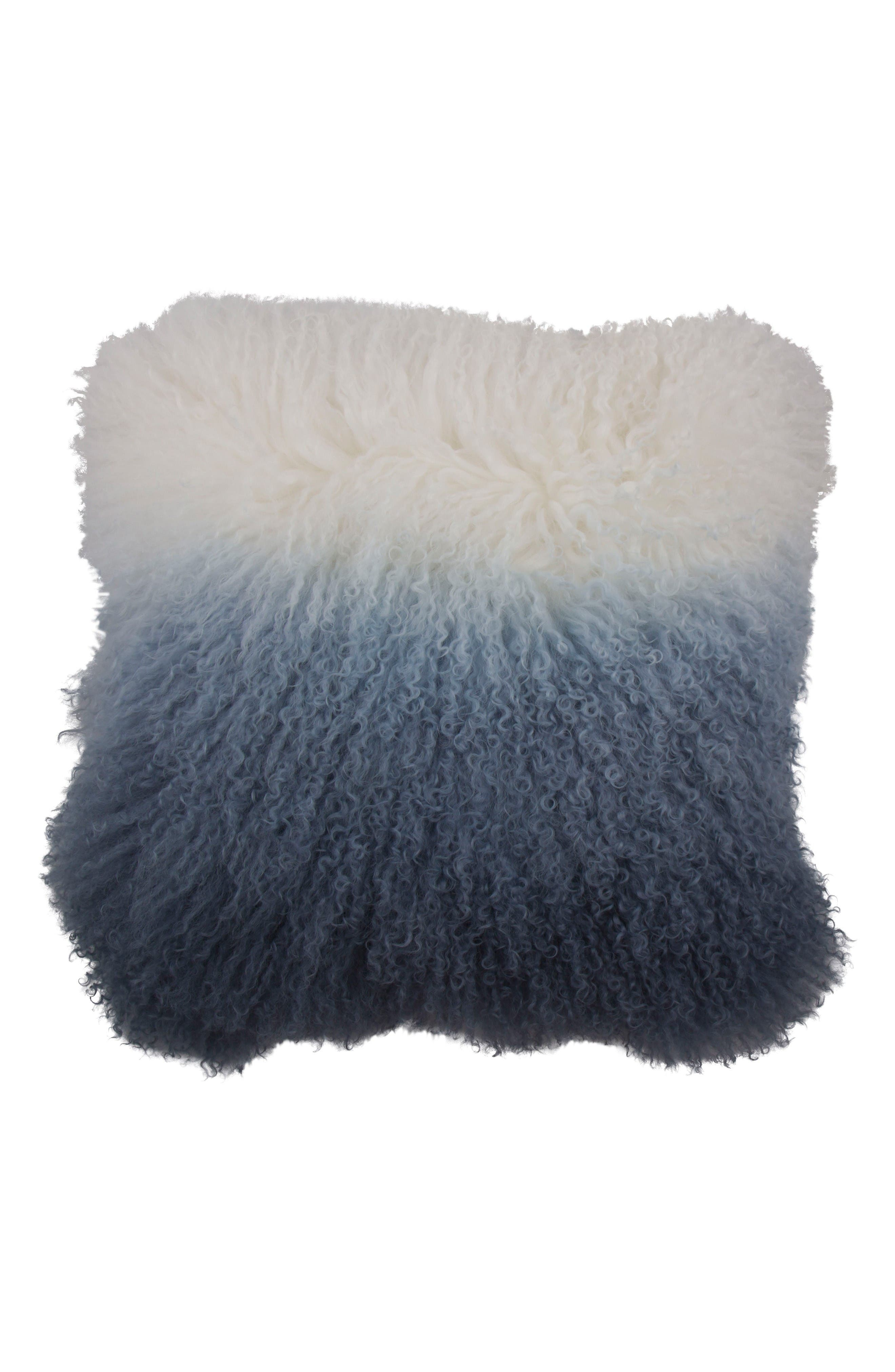 Genuine Shearling Pillow,                         Main,                         color, Blue/ White