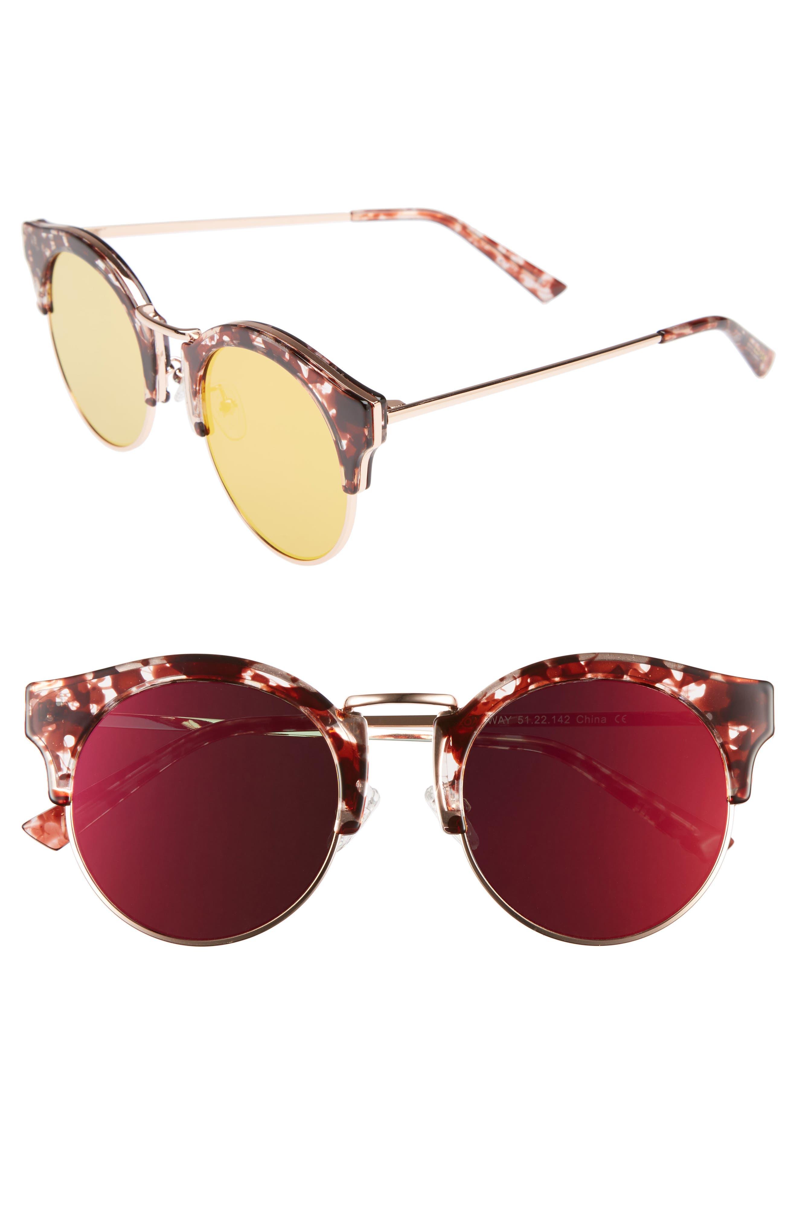Broadway 51mm Retro Sunglasses,                             Main thumbnail 1, color,                             Lovesick Red