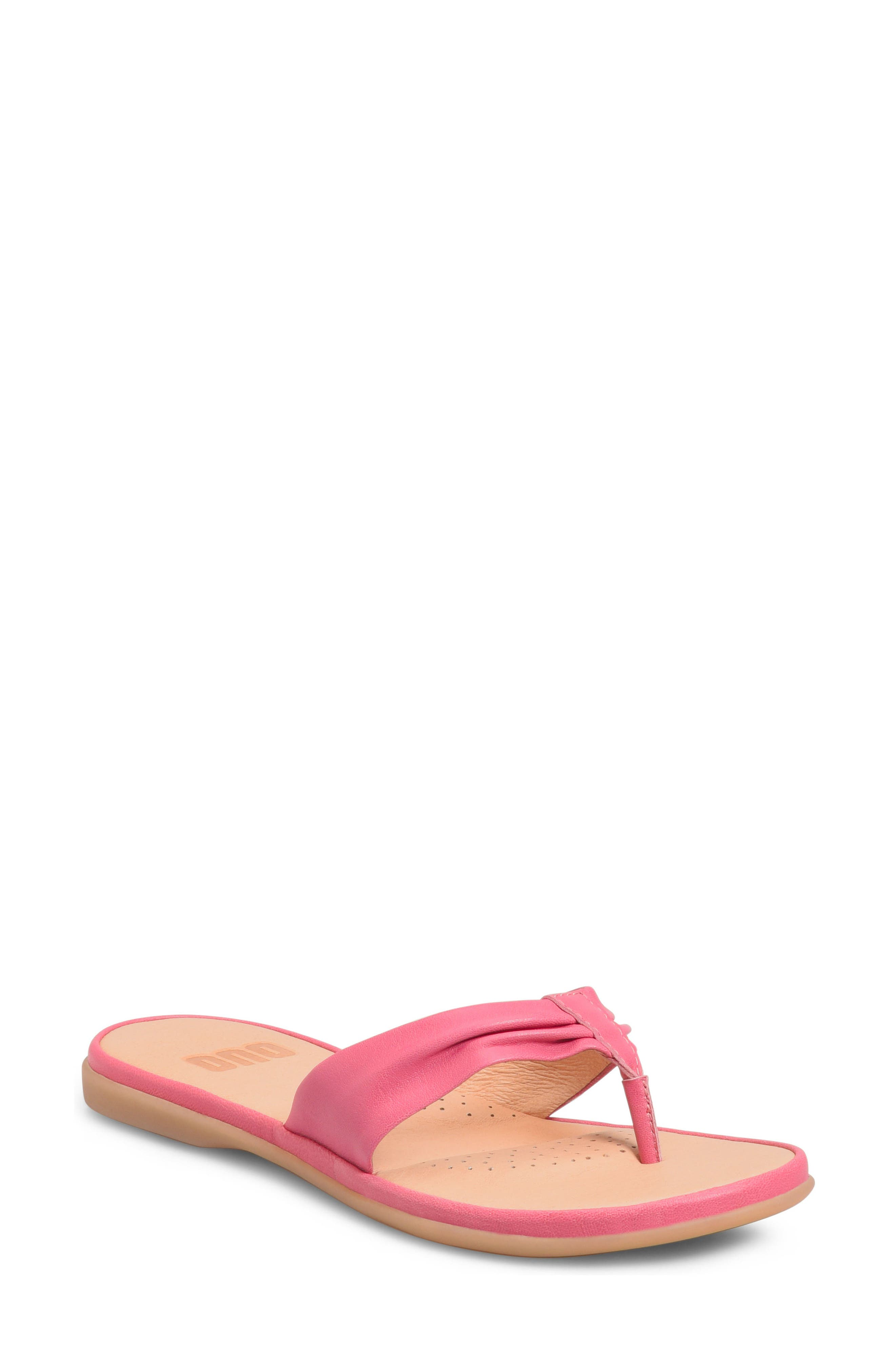 Liv Flip Flop,                             Main thumbnail 1, color,                             Dark Pink Leather
