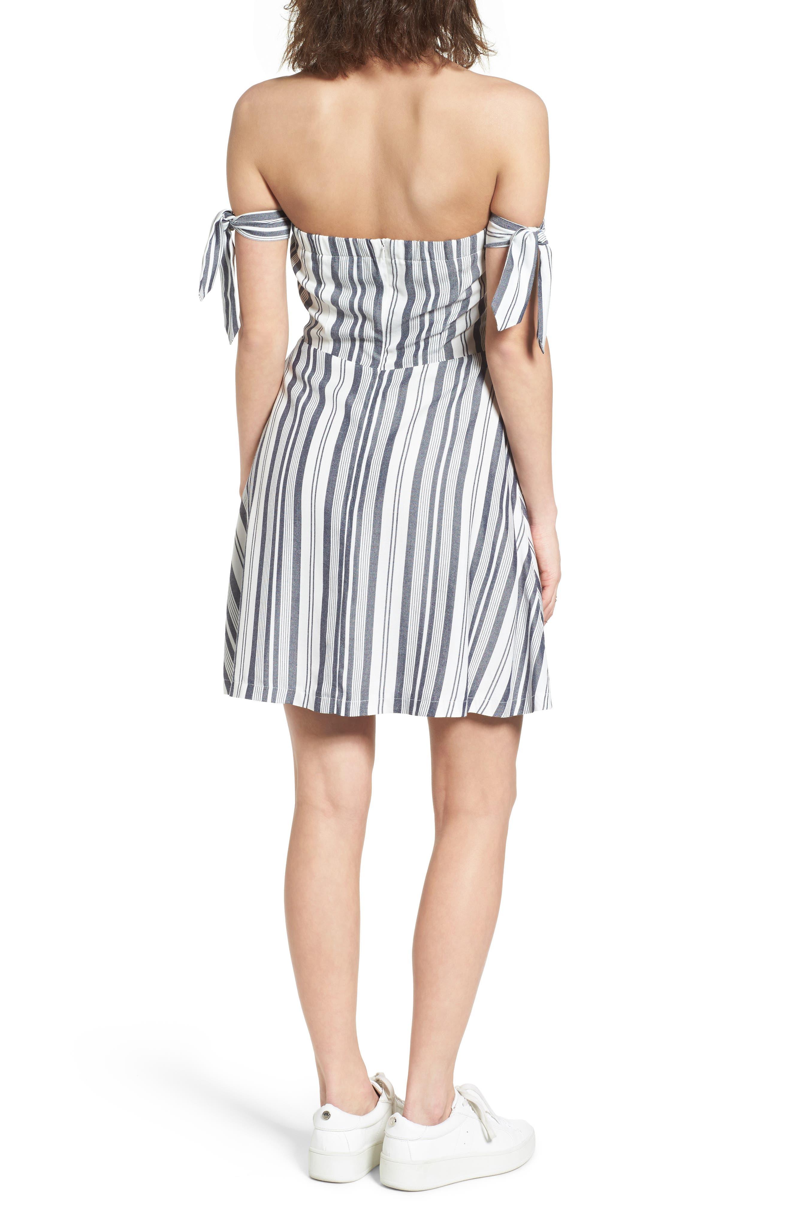 Alternate Image 2  - Love, Fire Tie Sleeve Off the Shoulder Dress