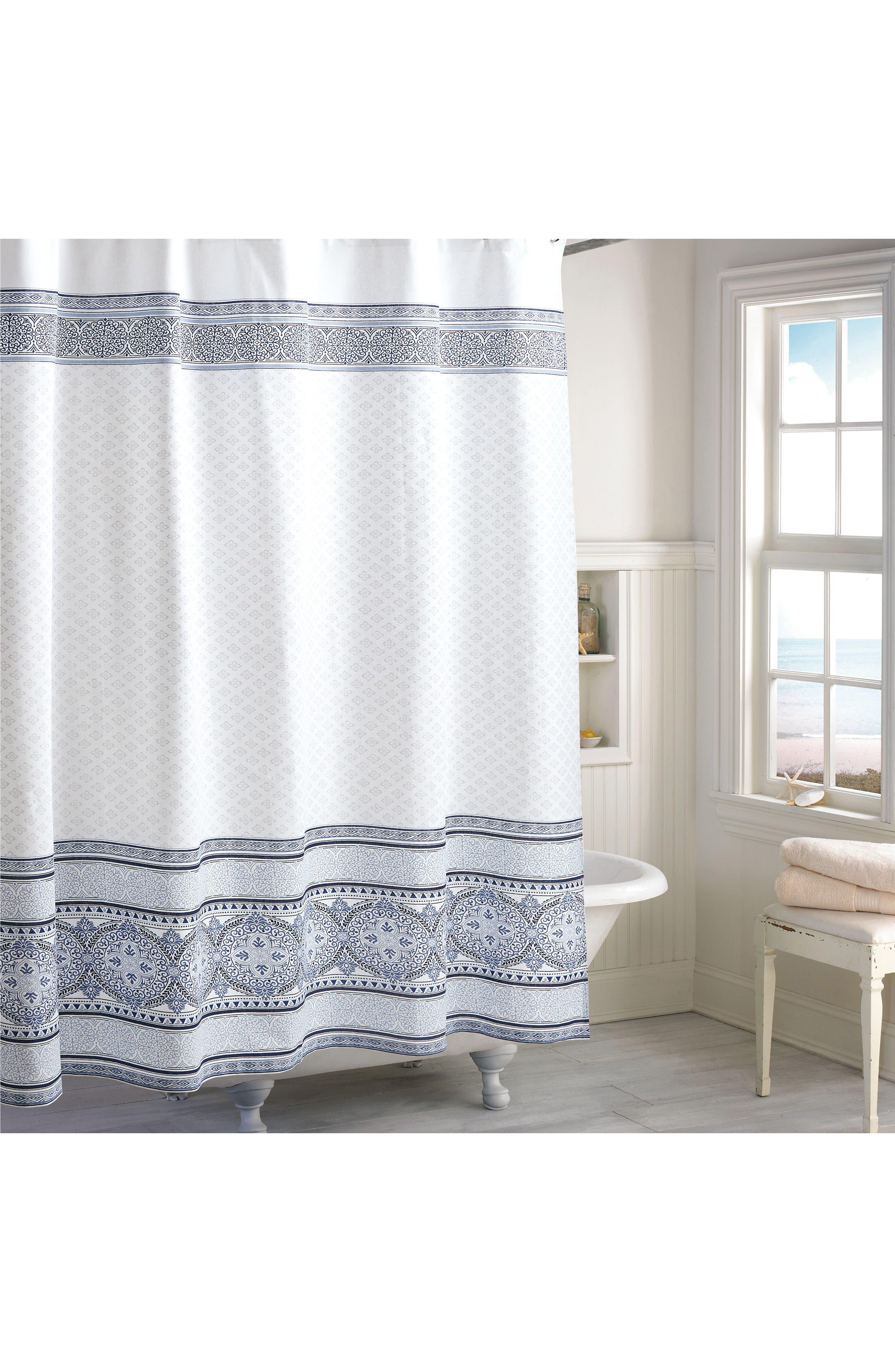 Medallion Border Shower Curtain,                         Main,                         color, Indigo