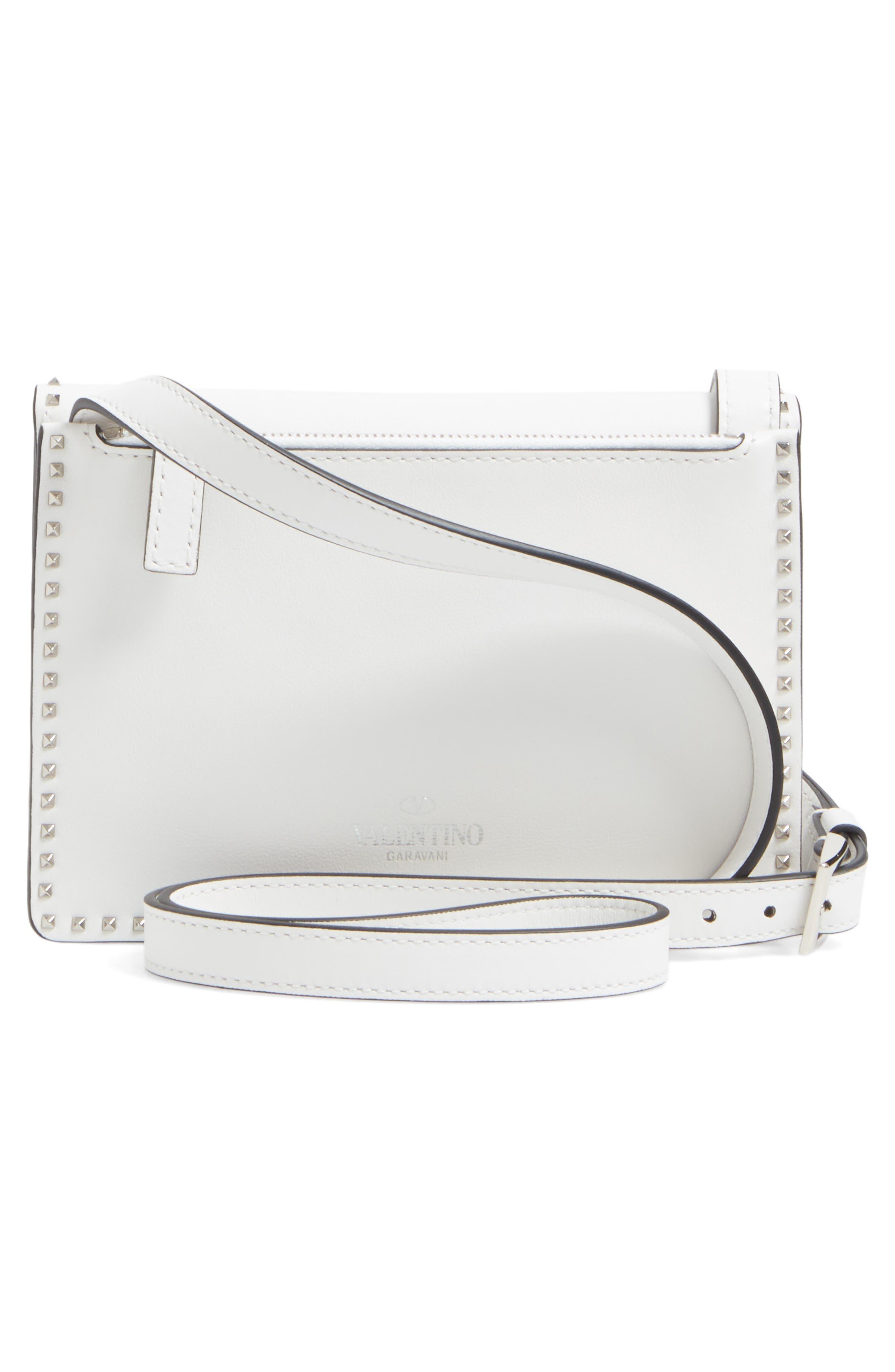 Small Rockstud Leather Shoulder Bag,                             Alternate thumbnail 2, color,                             Bianco