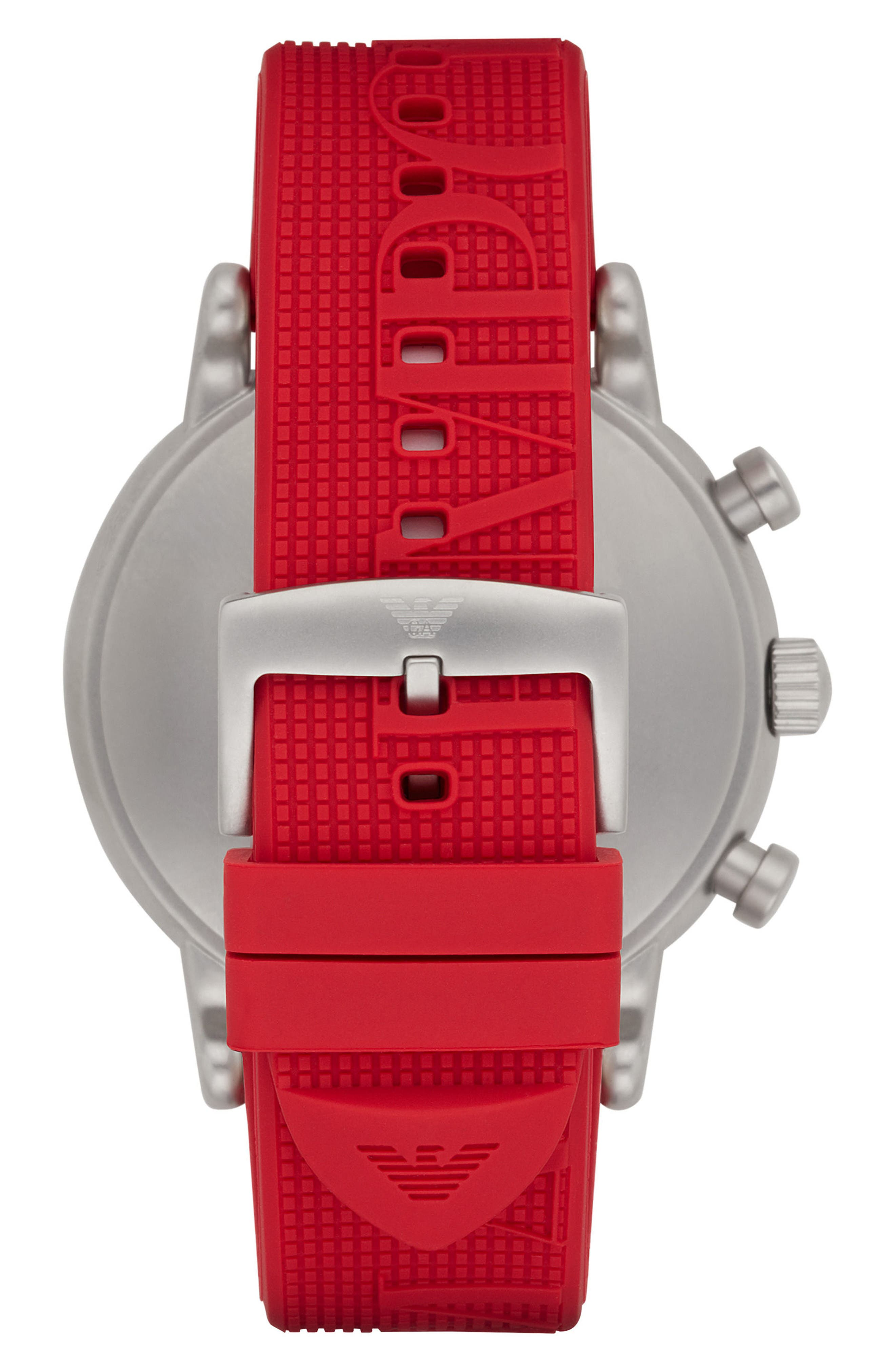 Chronograph Silicone Strap Watch, 32mm,                             Alternate thumbnail 2, color,                             White/ Red