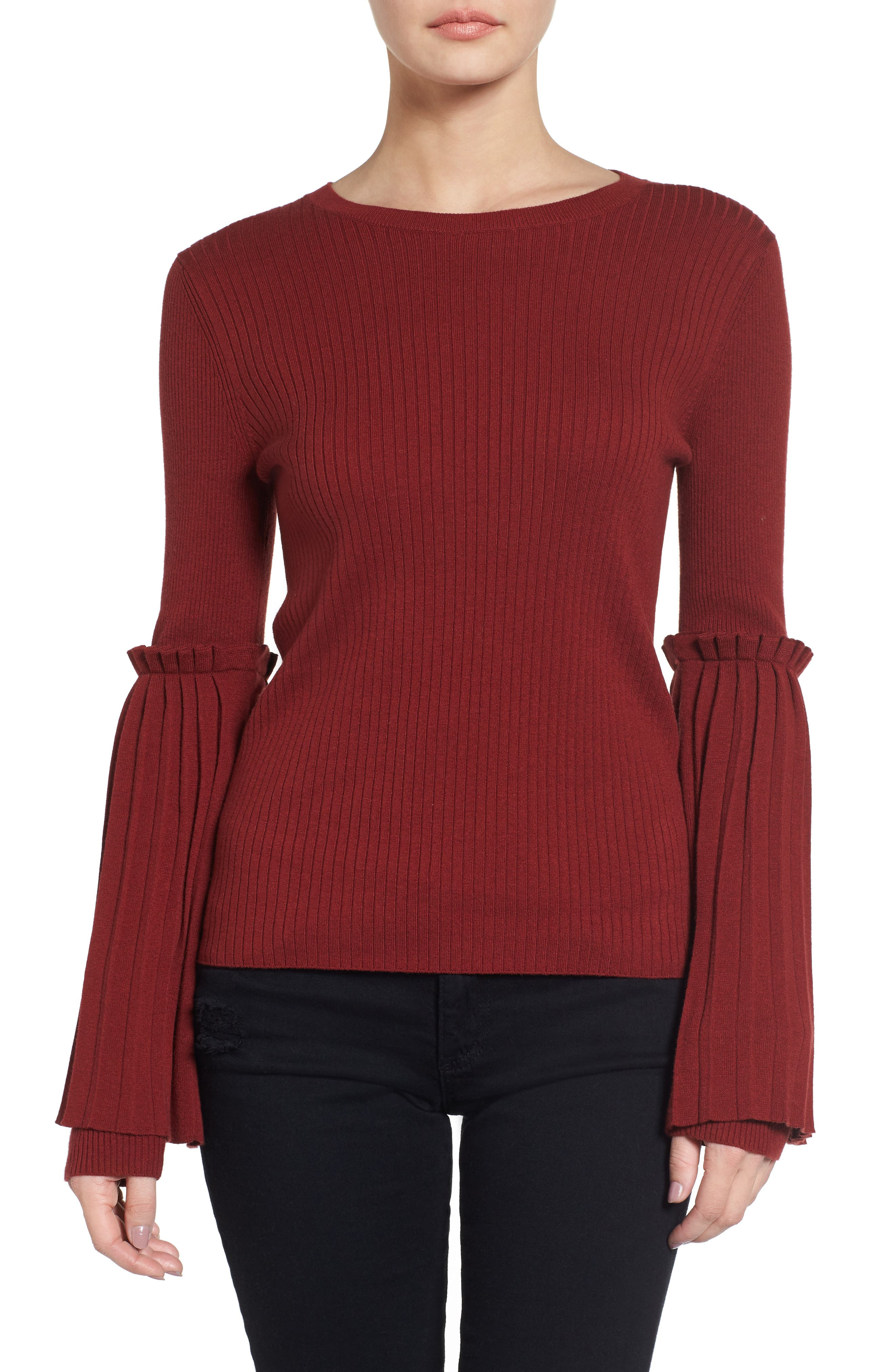 Bell Sleeve Sweater,                         Main,                         color, Red Syrah