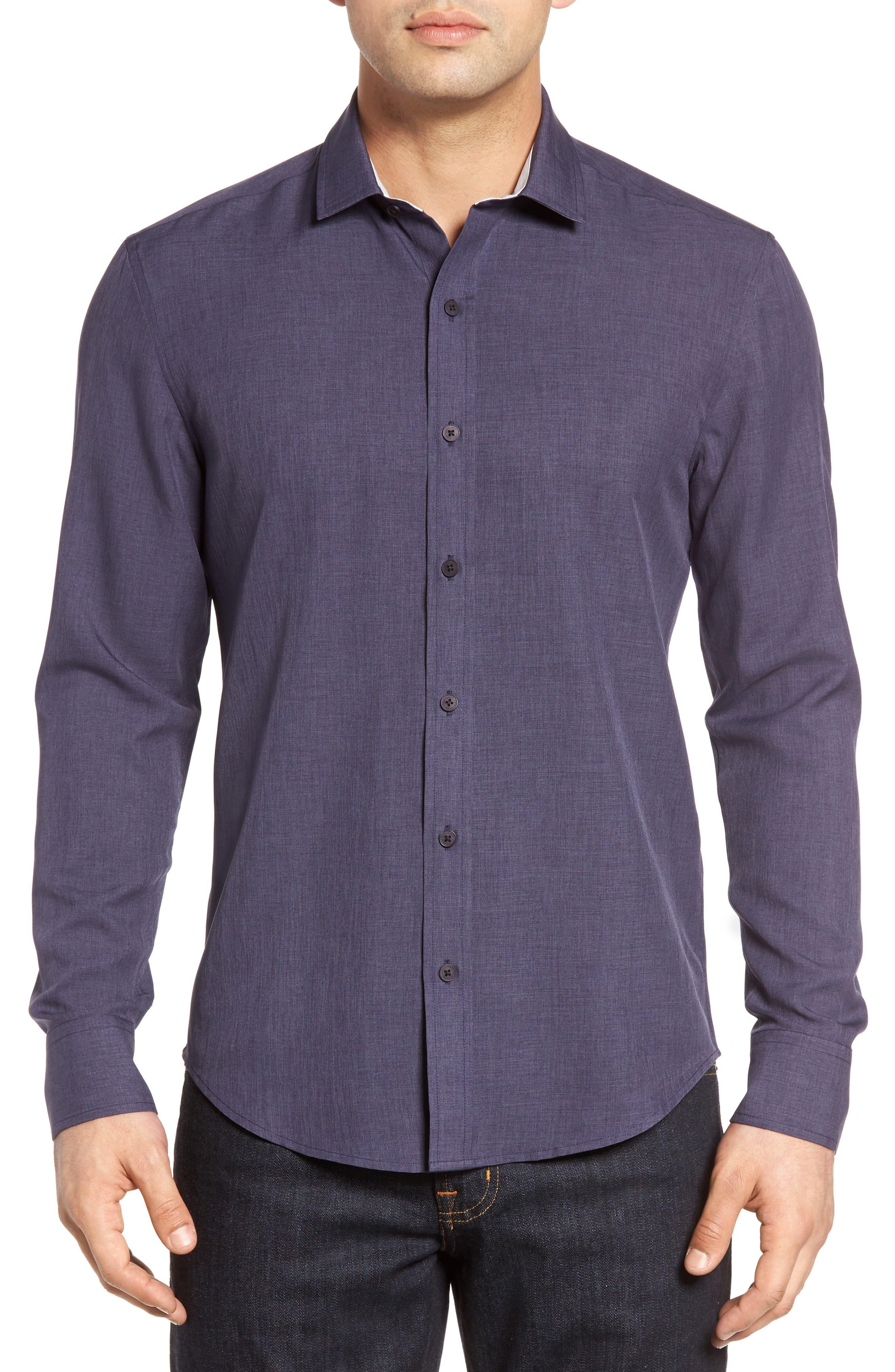 Trim Fit Sport Shirt,                         Main,                         color, Navy Scratch