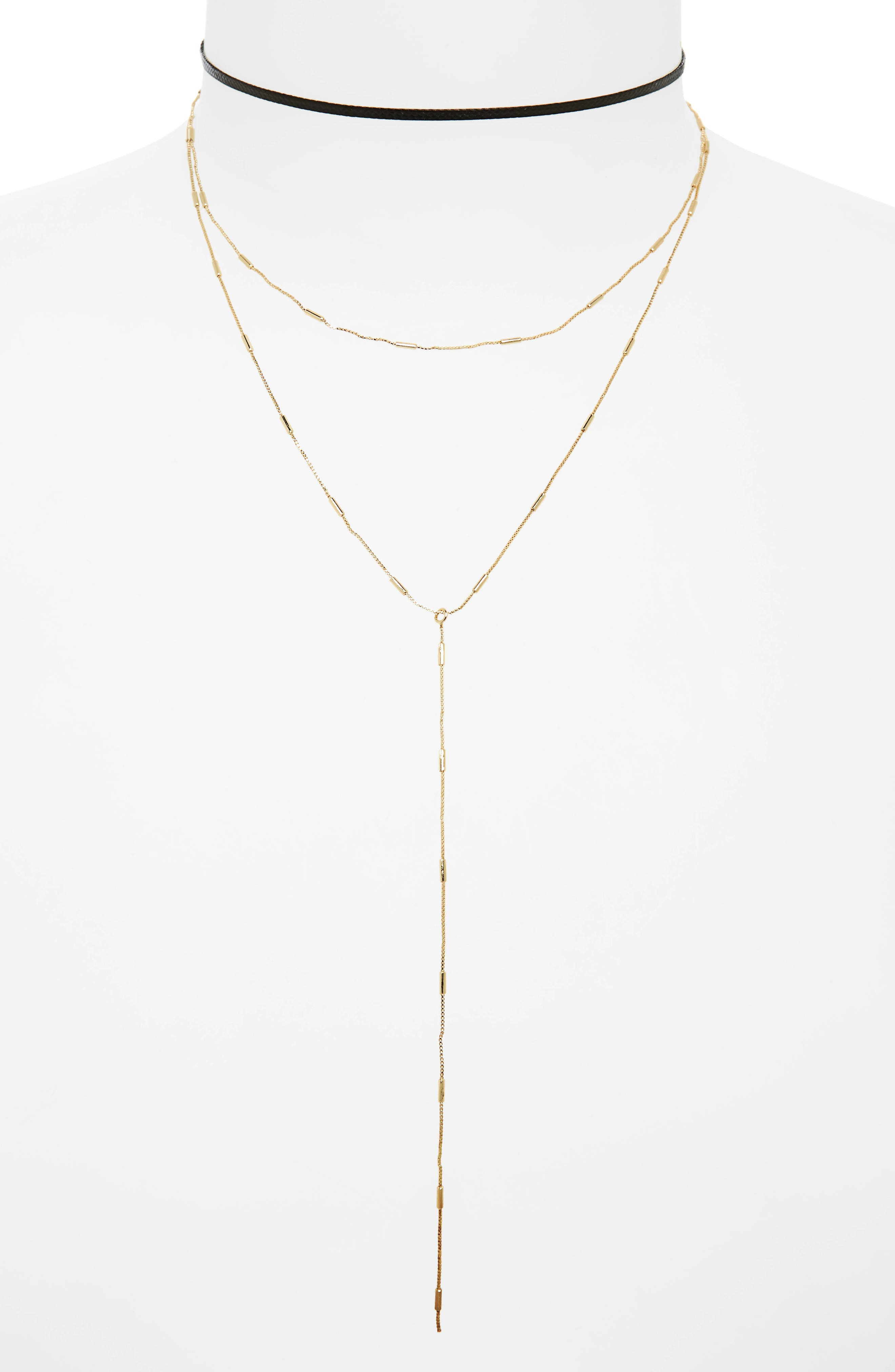 2-Pack Choker & Y-Necklace,                         Main,                         color, Black/ Gold