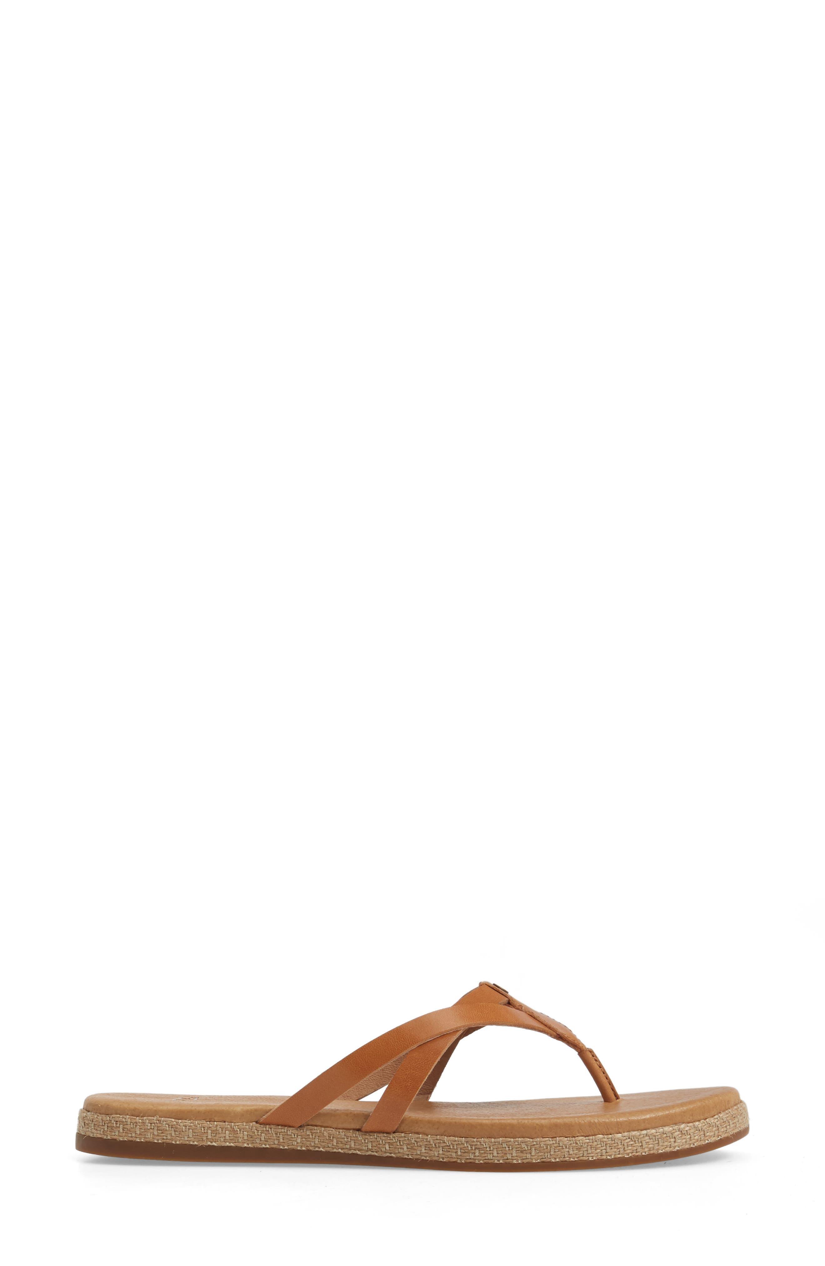 Annice Flip Flop,                             Alternate thumbnail 3, color,                             Cafe Leather