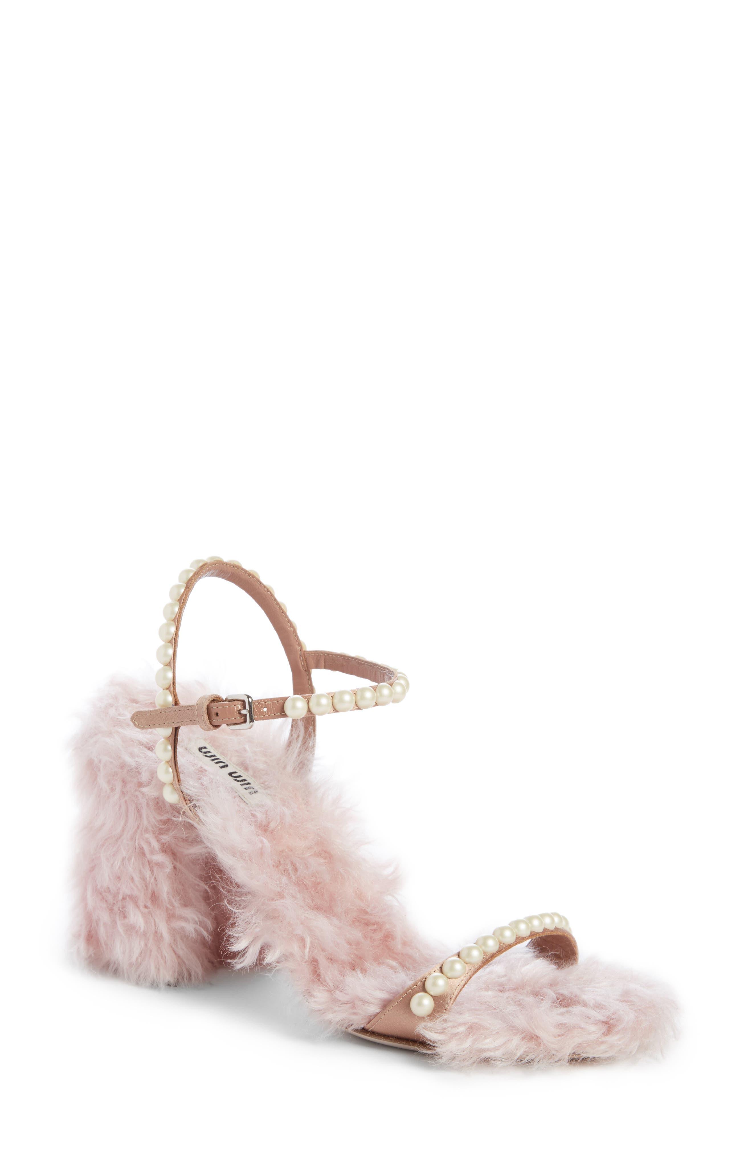Miu Miu Imitation Pearl Embellished Faux Fur Sandal (Women)