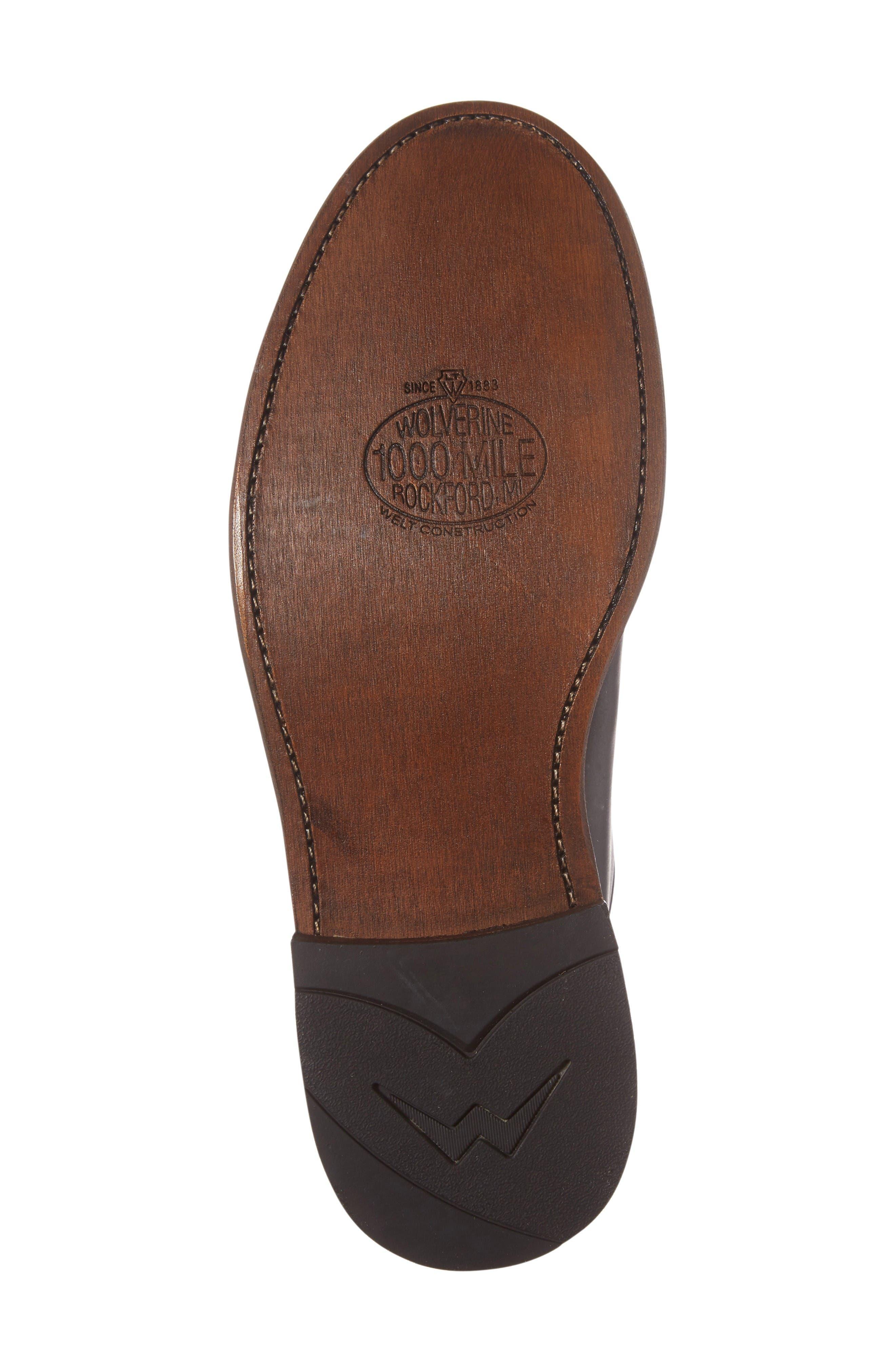1000 Mile Luke Plain Toe Derby,                             Alternate thumbnail 6, color,                             Black Leather