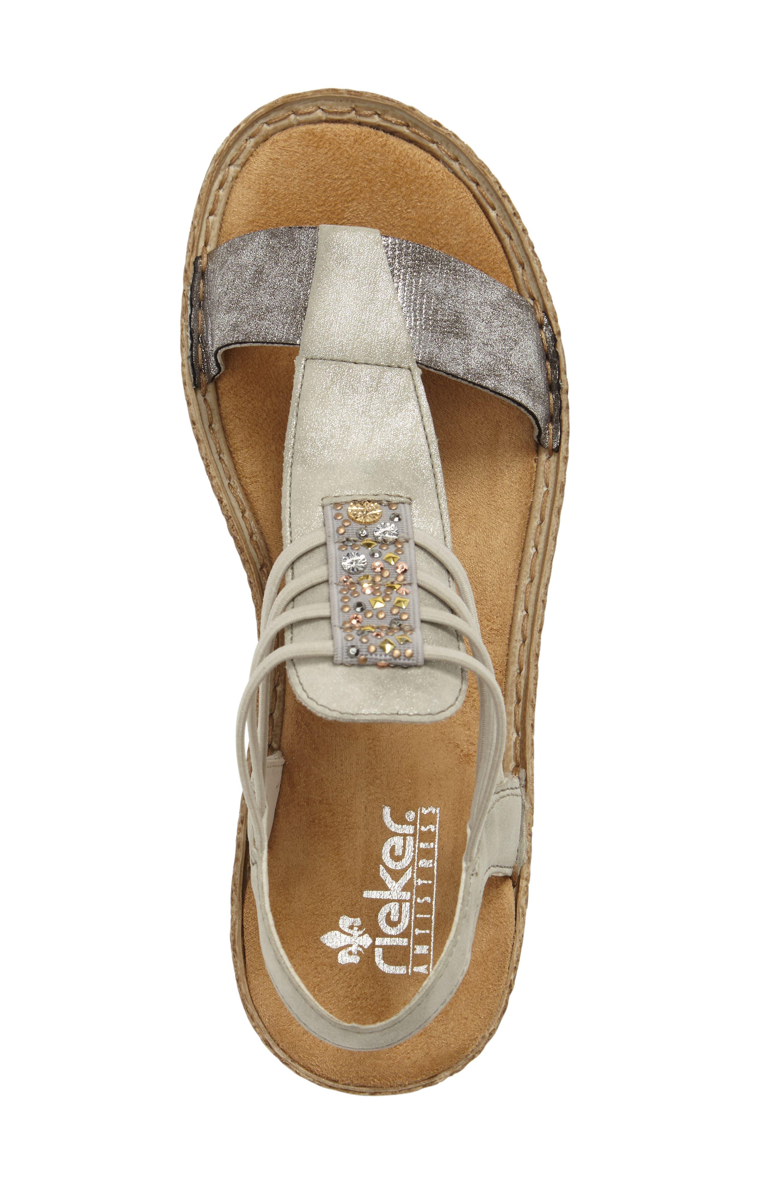Regina T-Strap Sandal,                             Alternate thumbnail 5, color,                             Grey Fabric