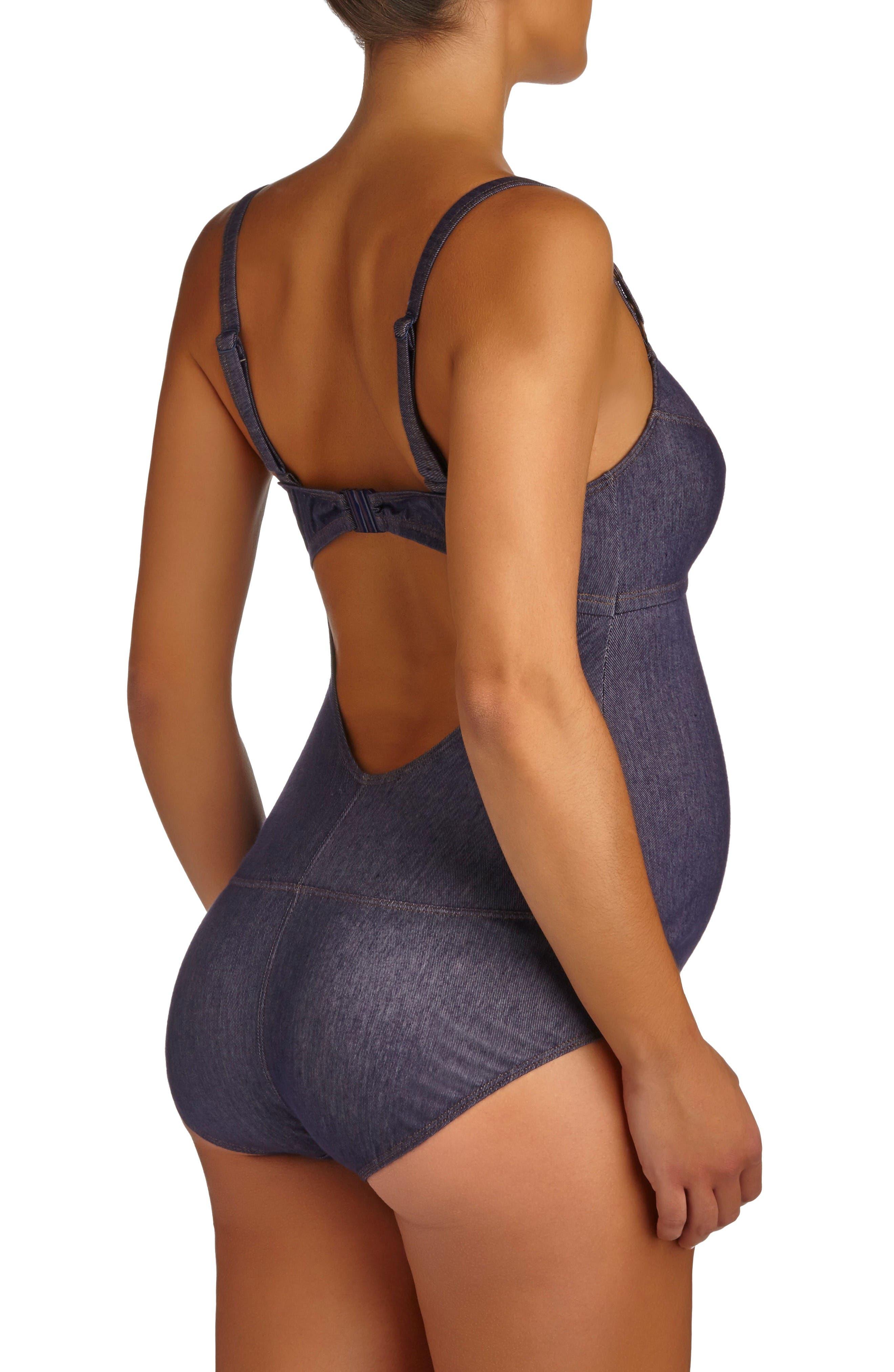 One-Piece Maternity Swimsuit,                             Alternate thumbnail 2, color,                             Blue Denim
