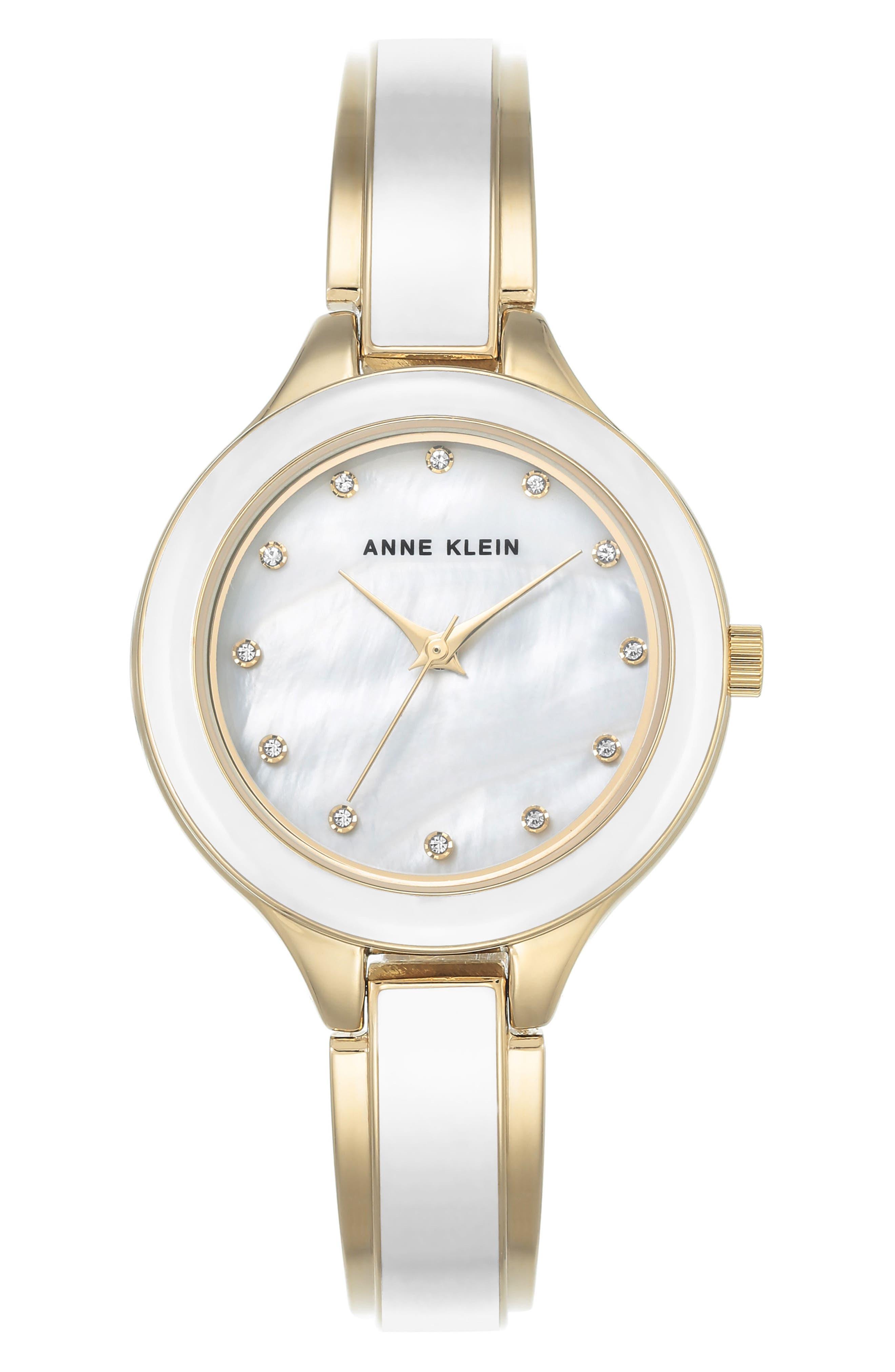 Enamel Bangle Watch, 32mm,                         Main,                         color, White/ Gold