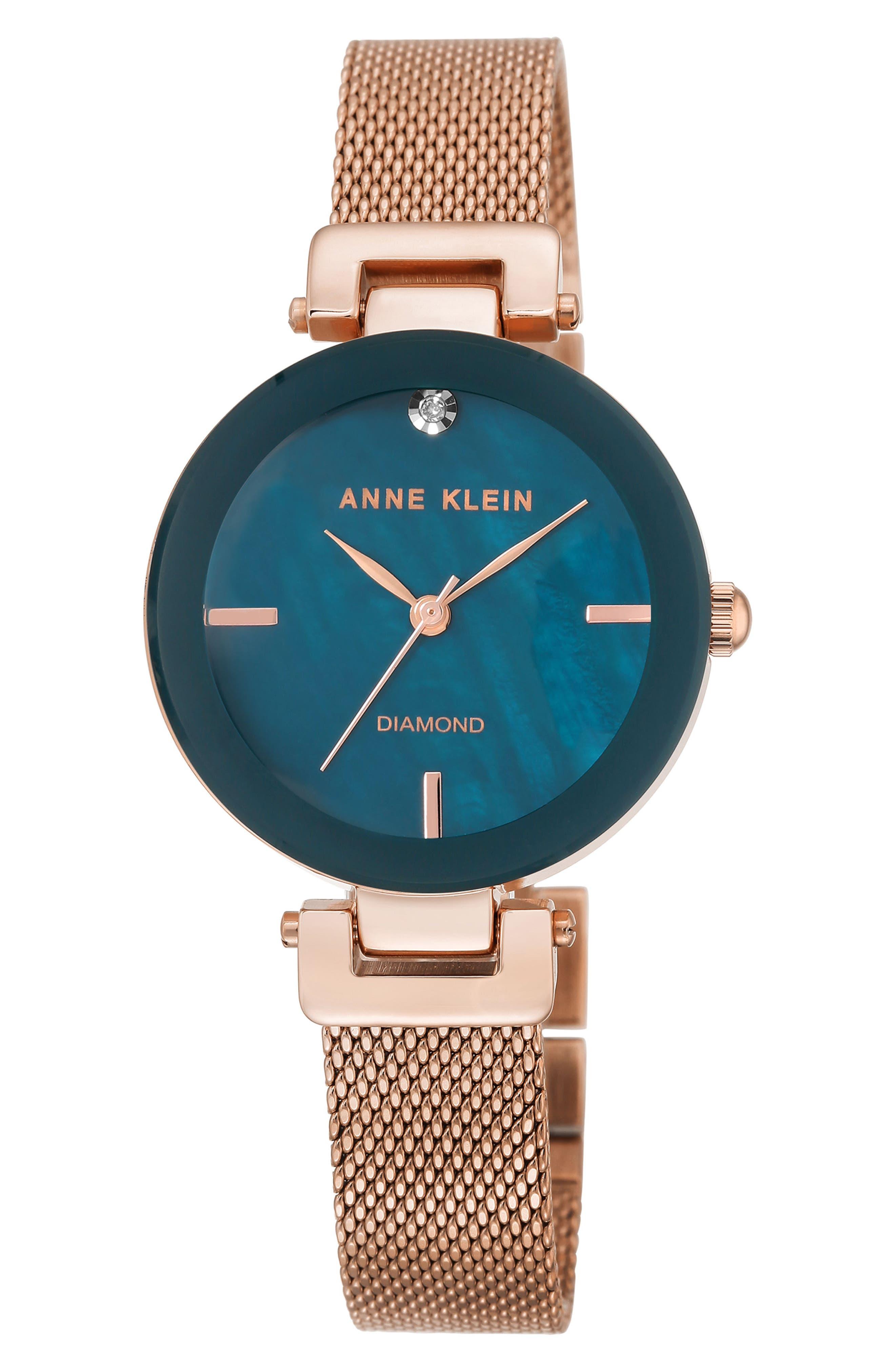 Mesh Strap Watch, 30mm,                         Main,                         color, Rose Gold/ Navy/ Black
