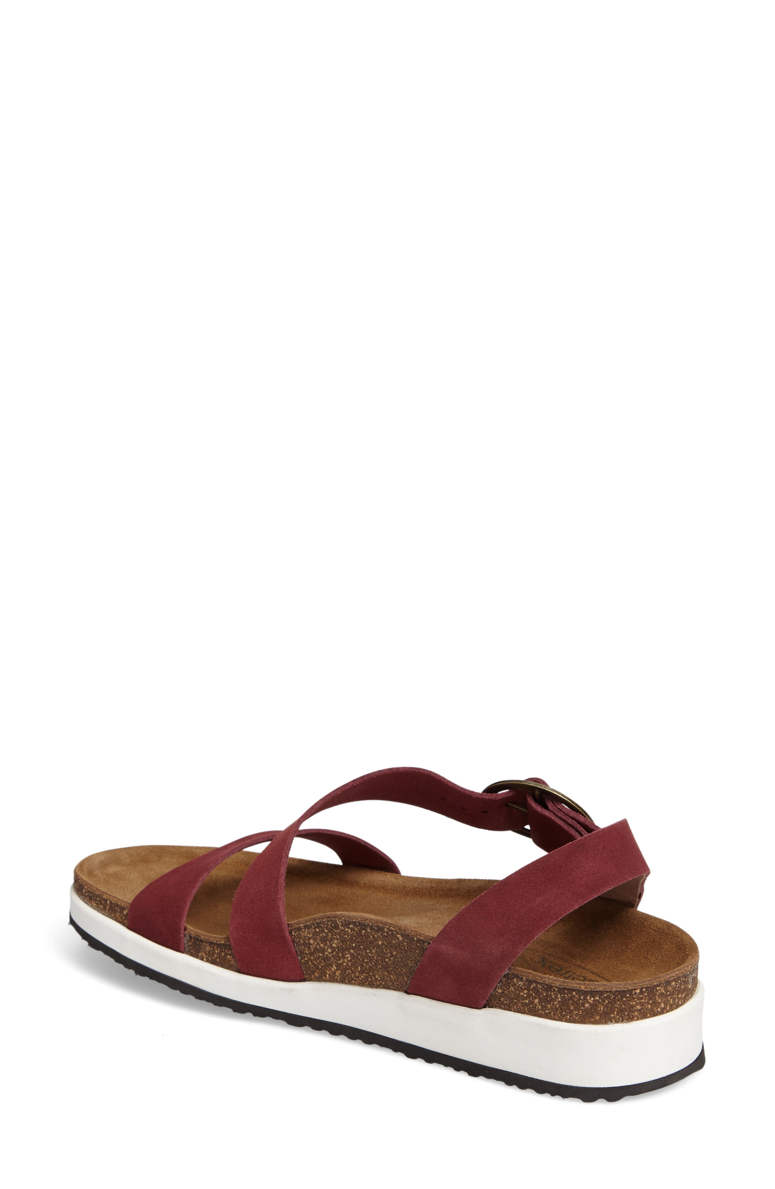 Adrianna Sandal,                             Alternate thumbnail 2, color,                             Maroon Suede