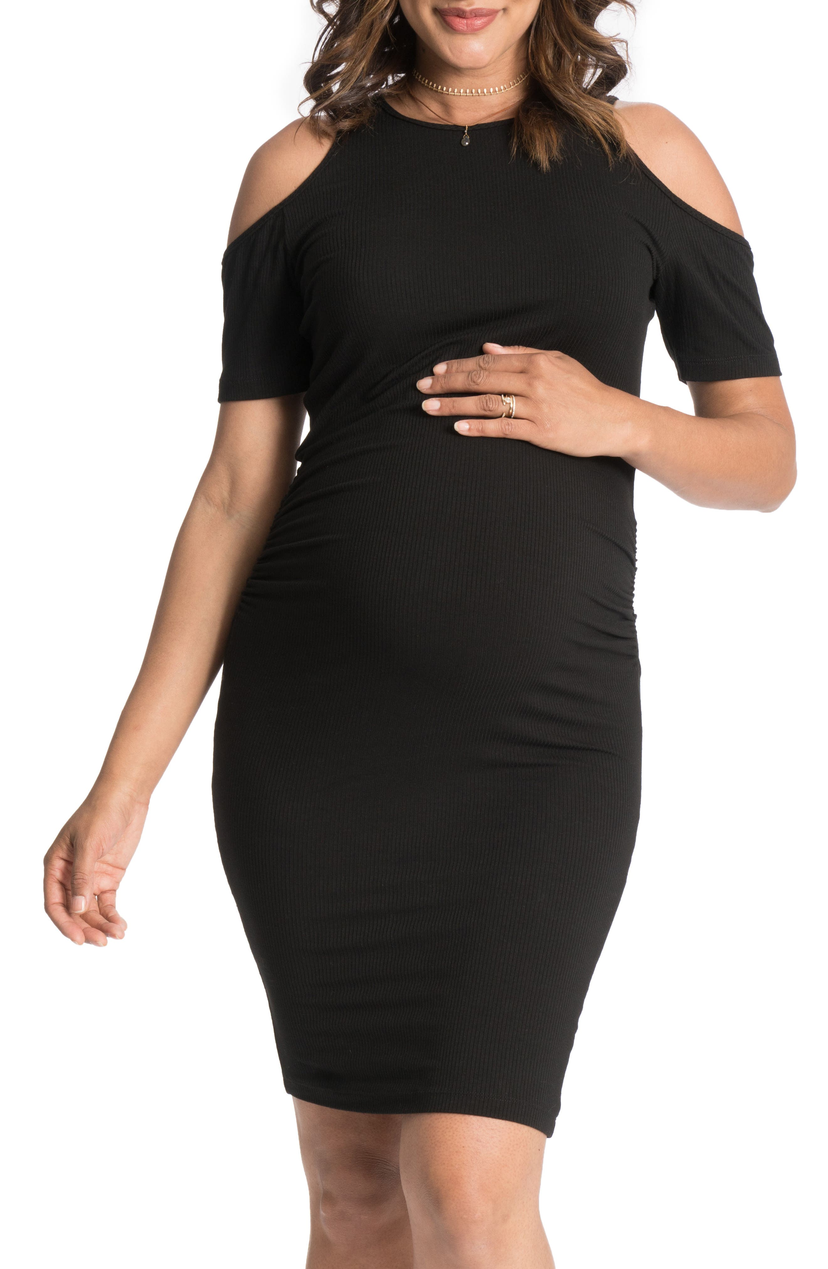 Cold-Shoulder Maternity Dress,                         Main,                         color, Black