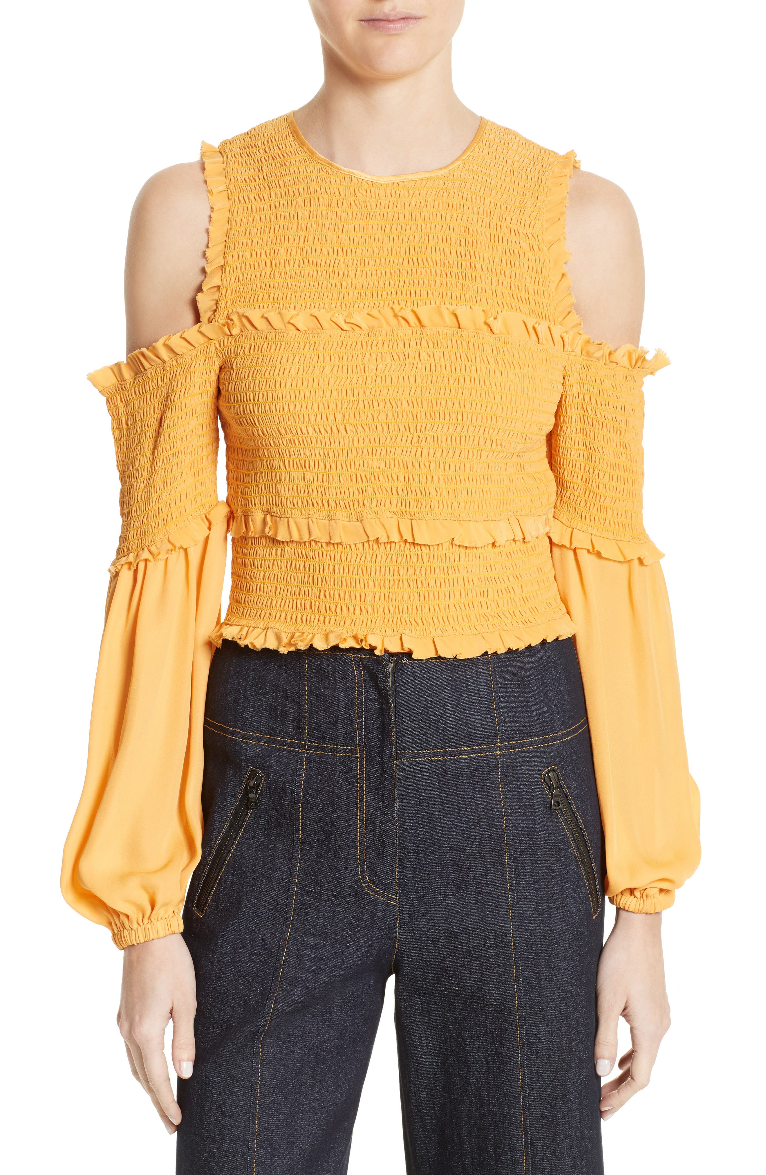 Pascal Silk Cold Shoulder Top,                         Main,                         color, Sienna