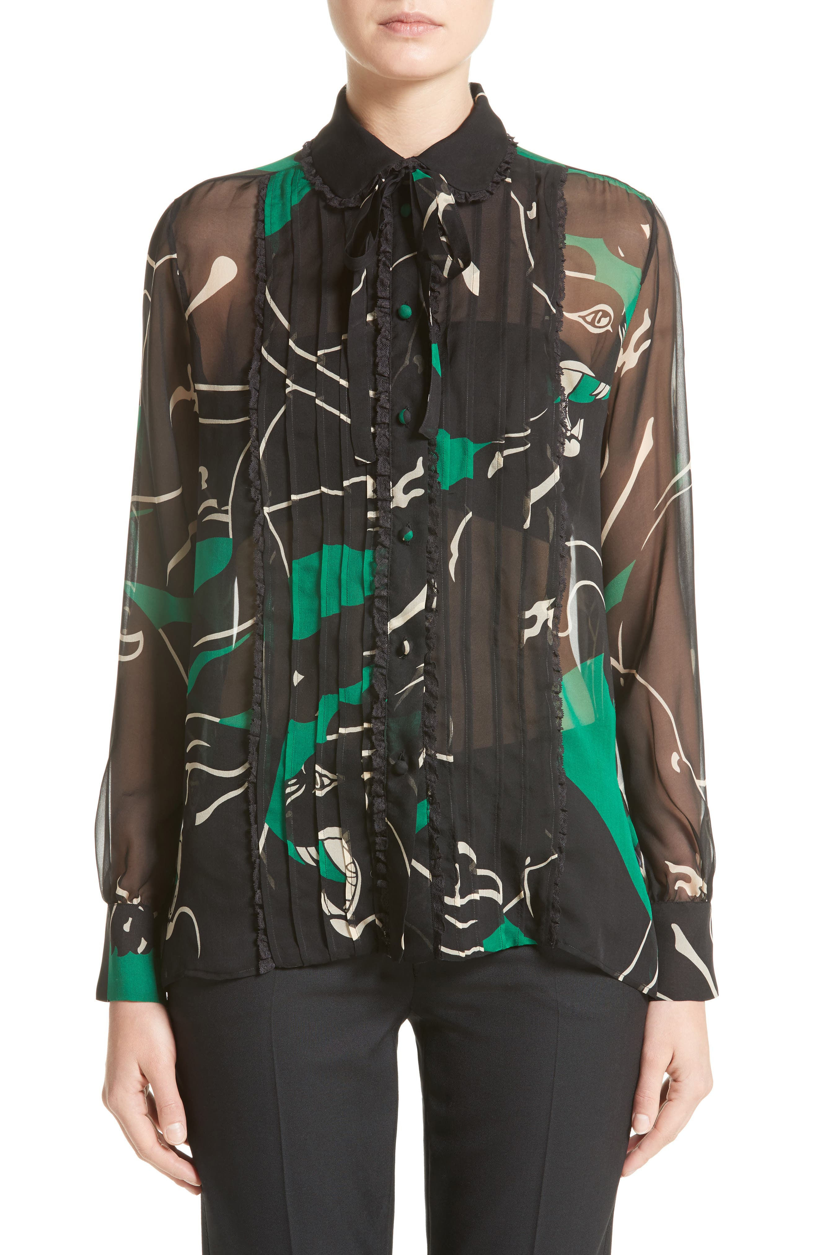 Panther Print Silk Chiffon Blouse,                         Main,                         color, Green/ Black