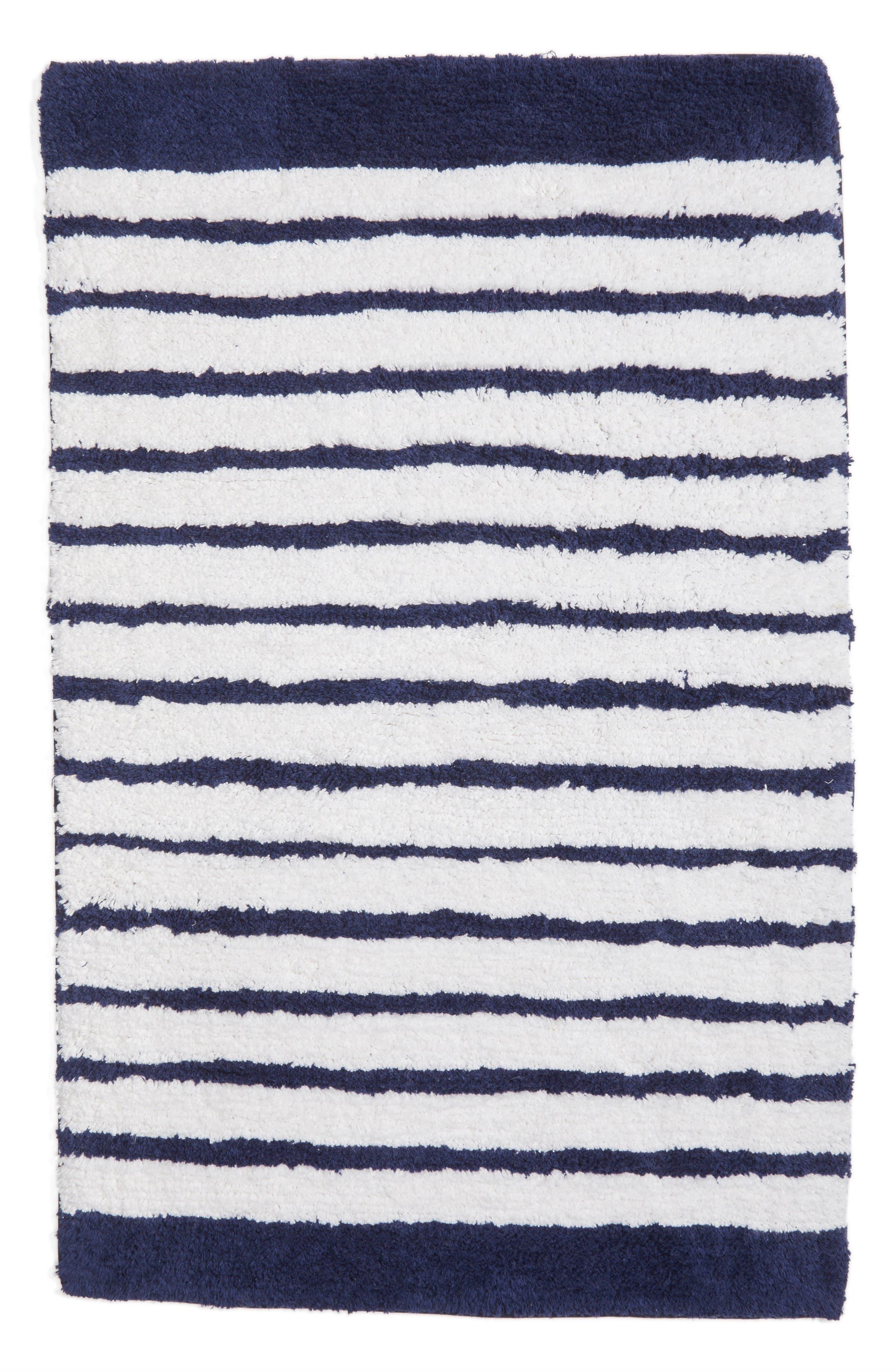 stripe bath rug,                             Main thumbnail 1, color,                             Navy