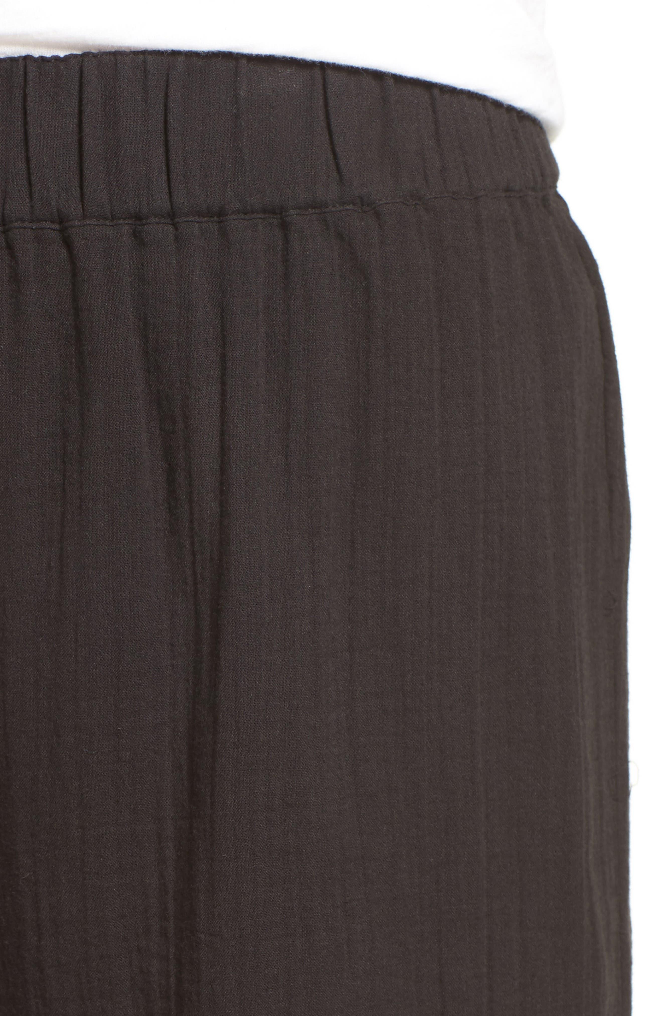 Organic Cotton Crop Pants,                             Alternate thumbnail 4, color,                             Black