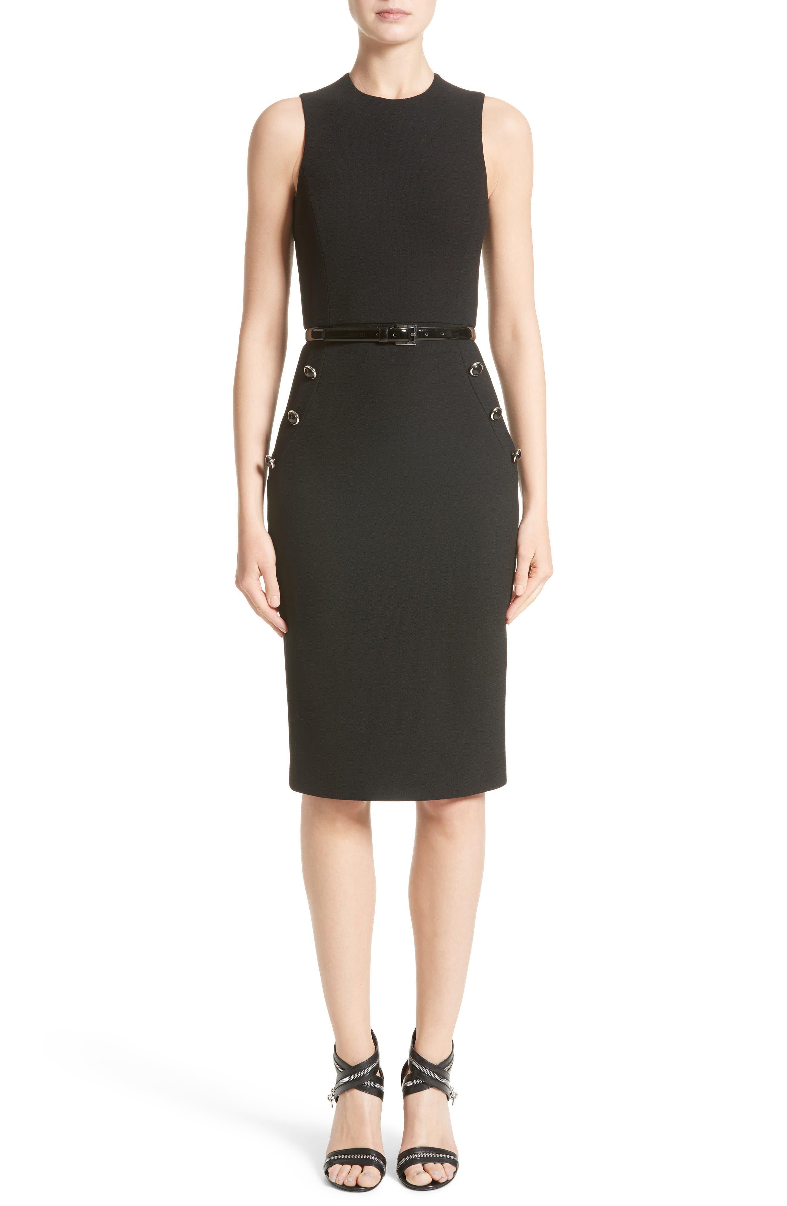 Belted Stretch Bouclé Crepe Sheath Dress,                             Main thumbnail 1, color,                             Black