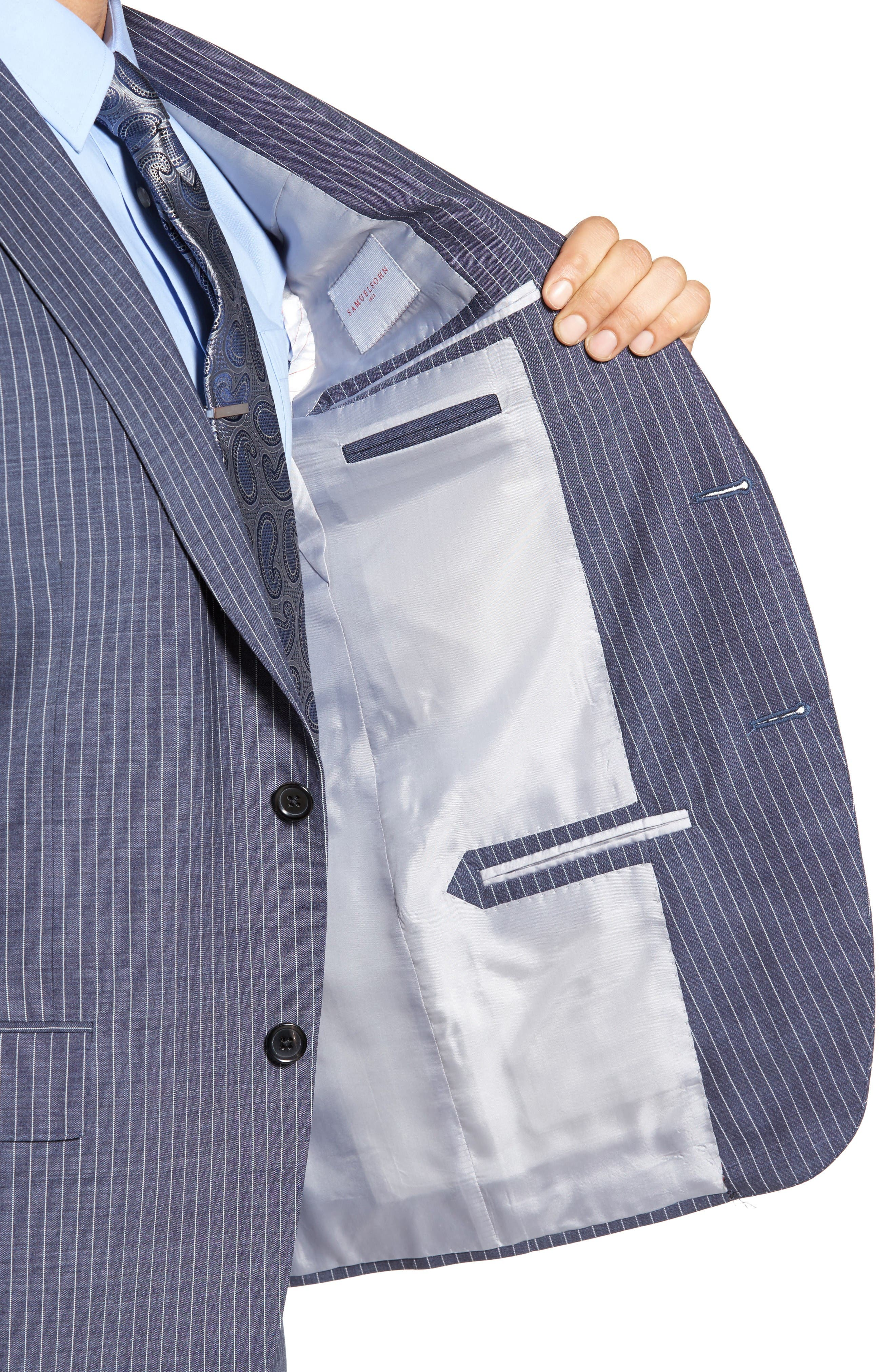 Beckett Classic Fit Stripe Wool Suit,                             Alternate thumbnail 4, color,                             Light Blue