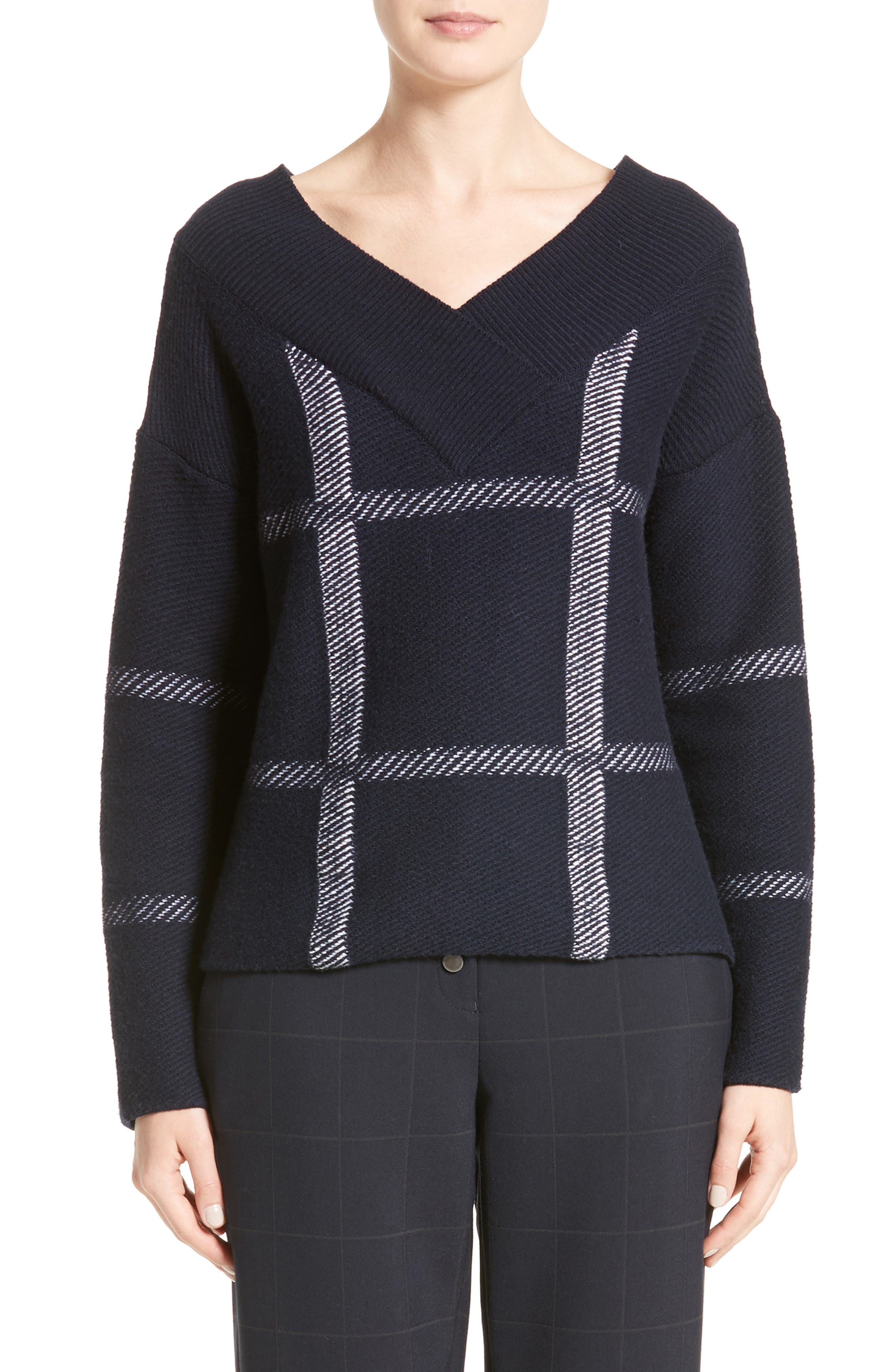 Windowpane Wool & Cashmere Sweater,                         Main,                         color, Navy Multi