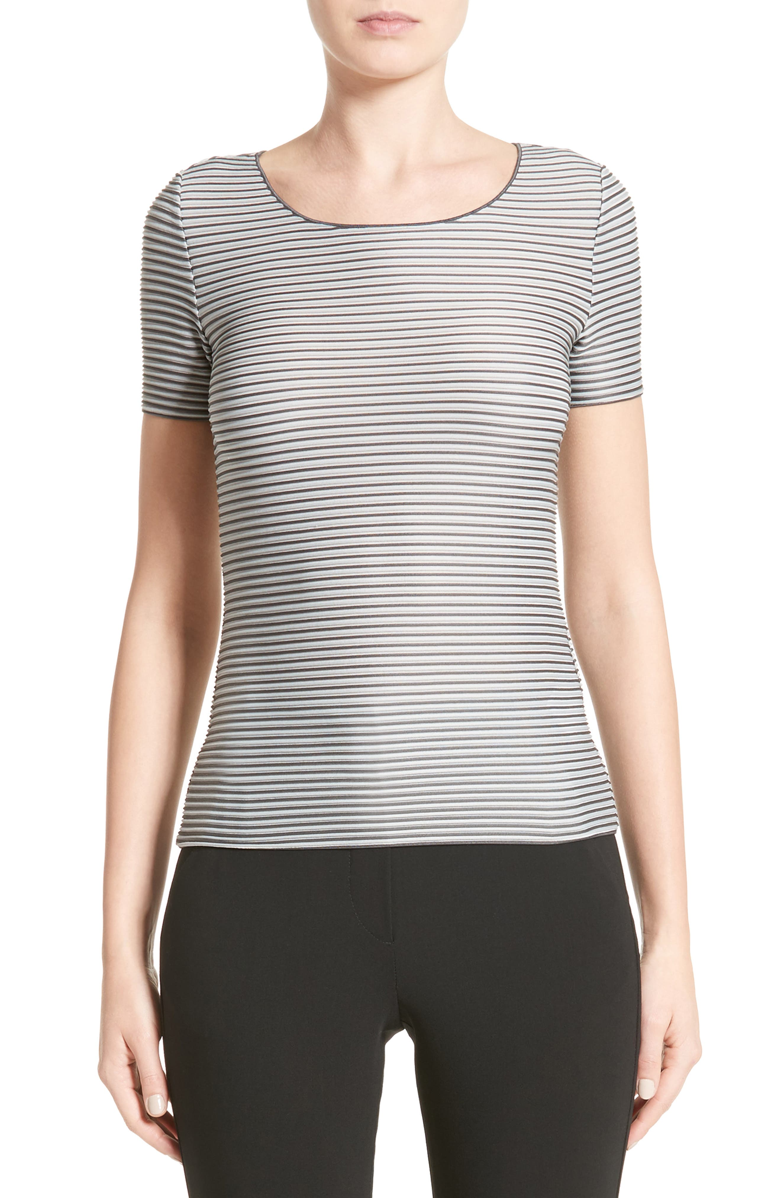 Striped Piped Jersey Tee,                         Main,                         color, Grey Multi