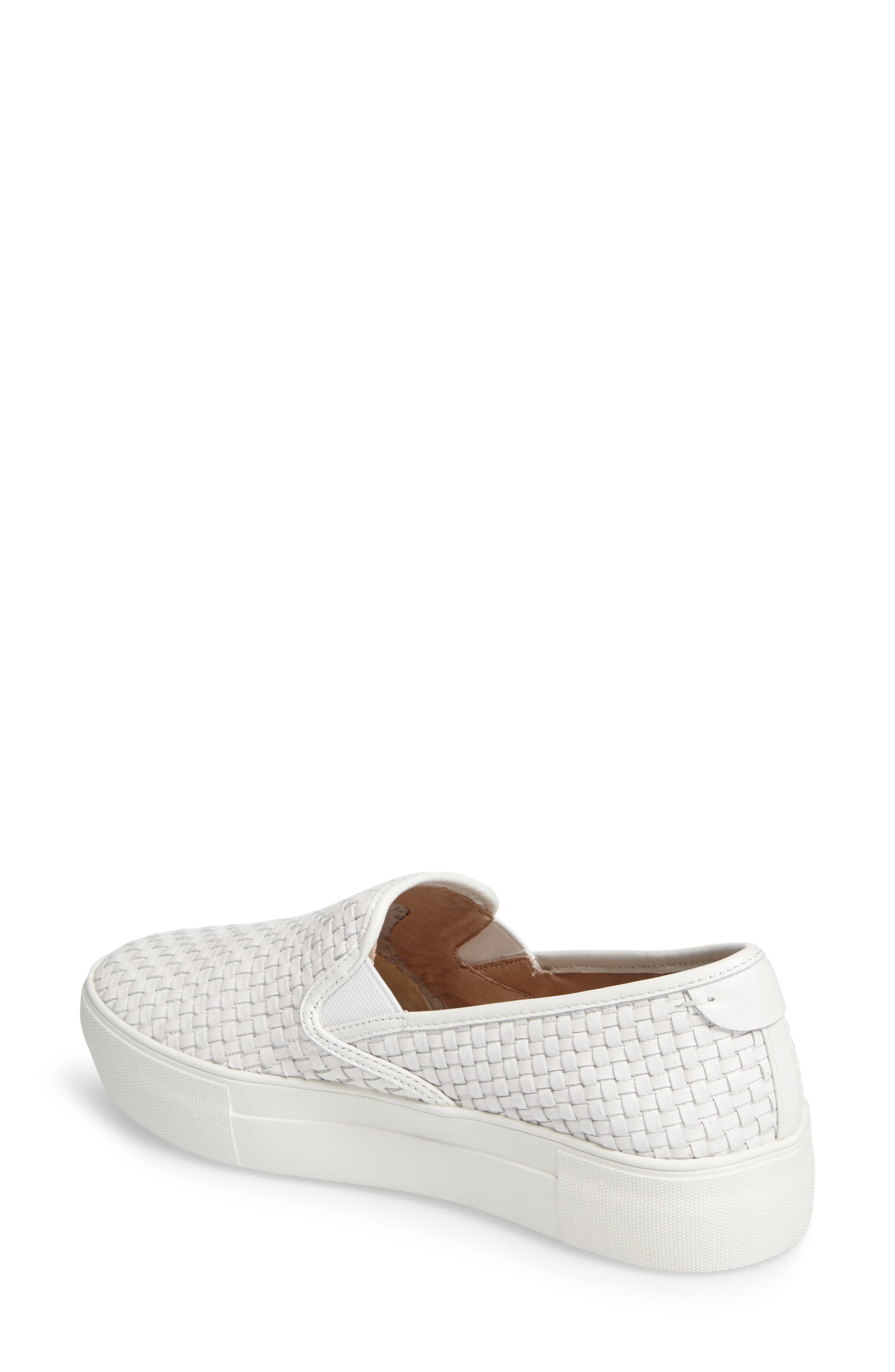 Alyssa Platform Slip-On Sneaker,                             Alternate thumbnail 2, color,                             White Leather