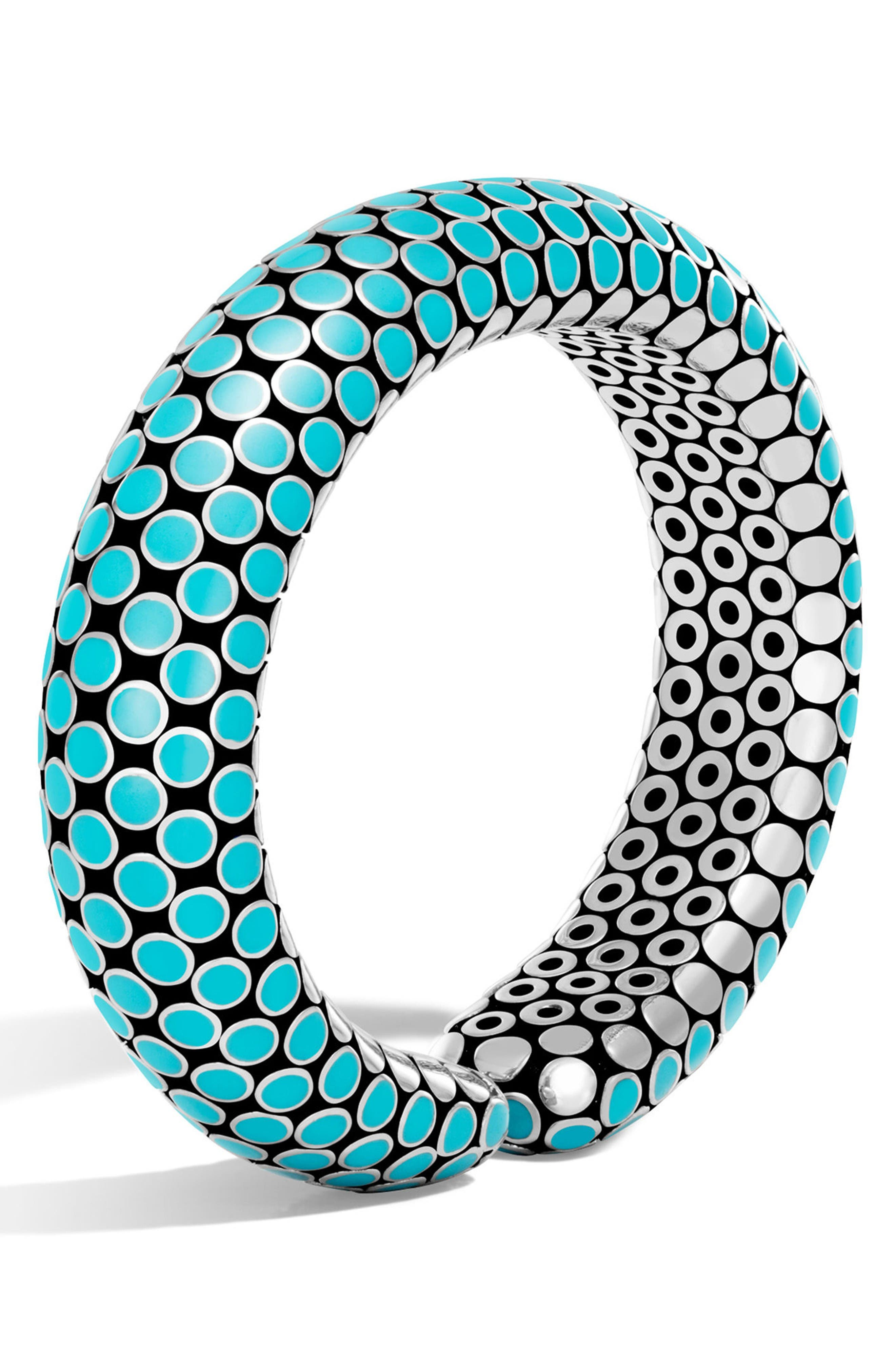 Dot Medium Silver Cuff,                         Main,                         color, Turquoise/ Silver