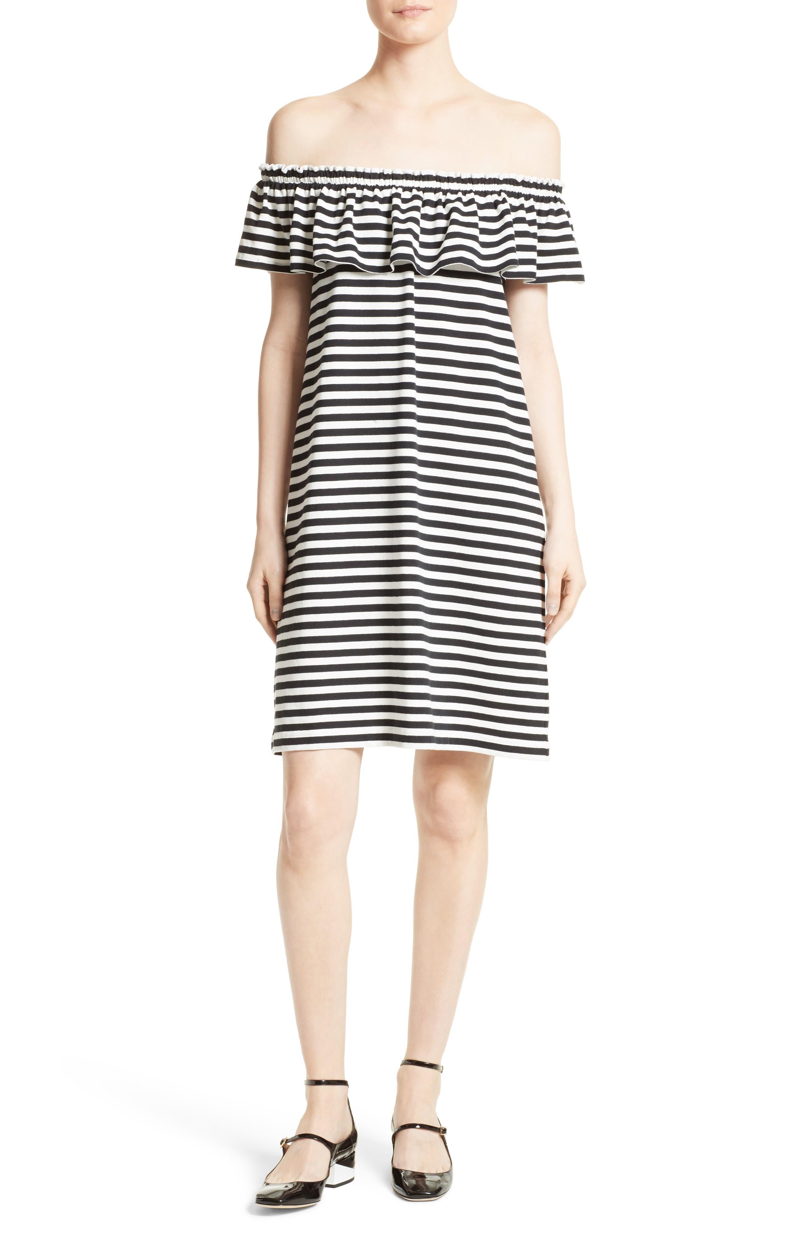 Alternate Image 1 Selected - kate spade new york stripe knit off the shoulder dress
