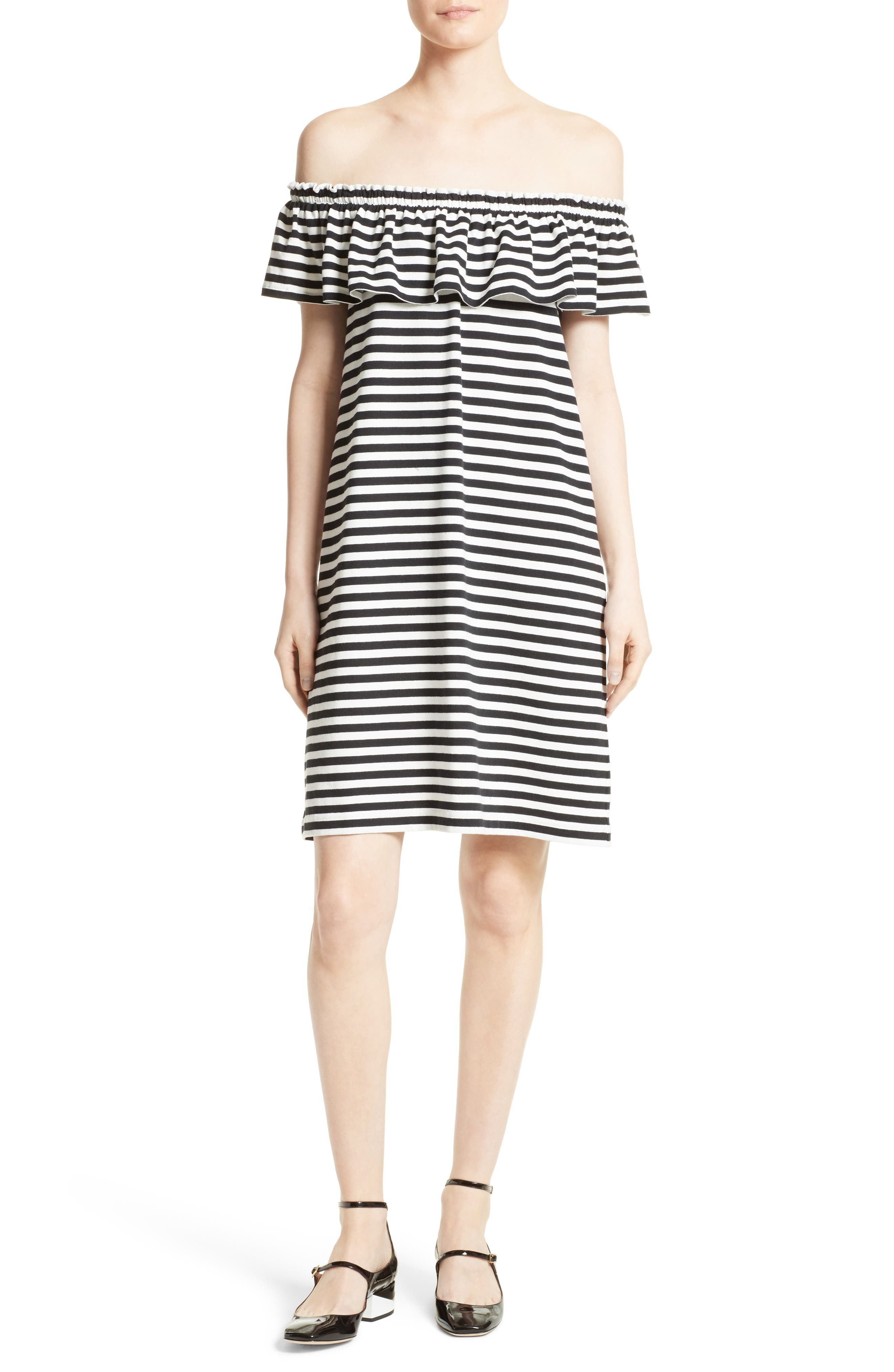 kate spade new york stripe knit off the shoulder dress